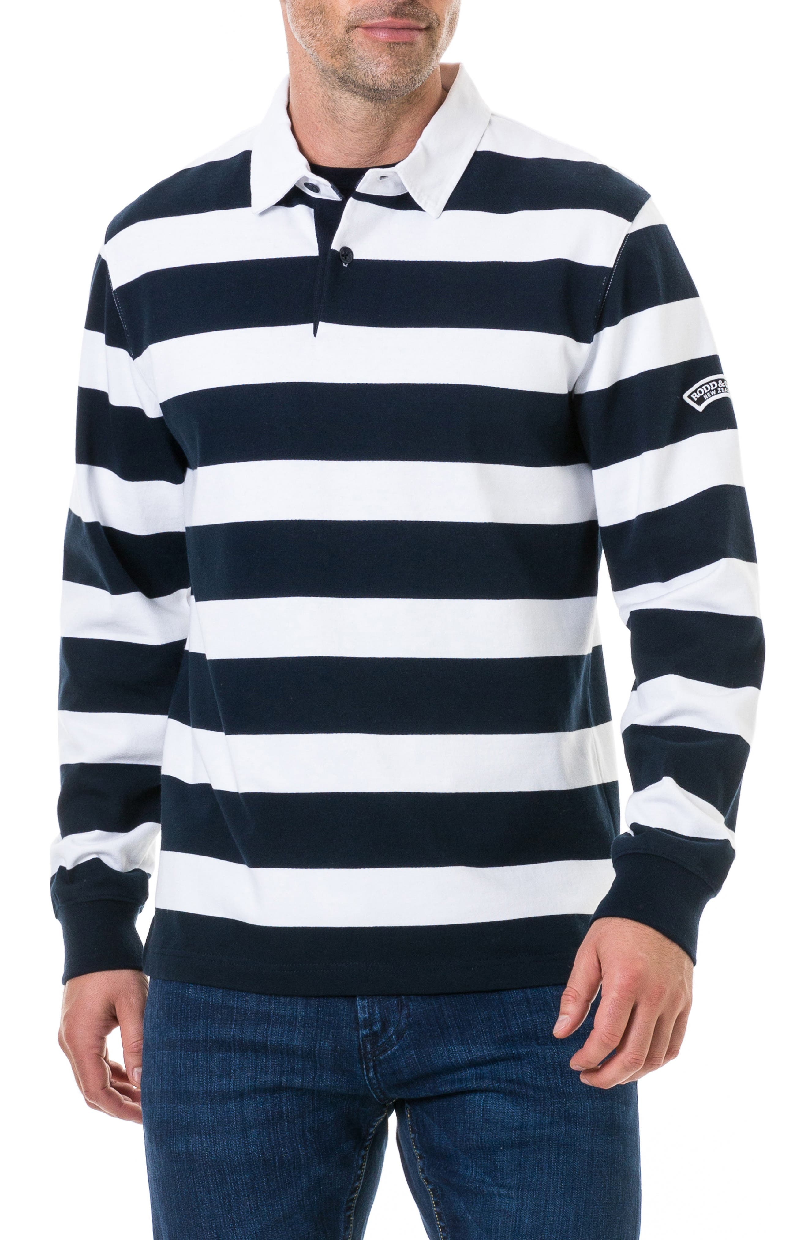 RODD & GUNN,                             Pakington Rugby Stripe Polo,                             Main thumbnail 1, color,                             MARINE