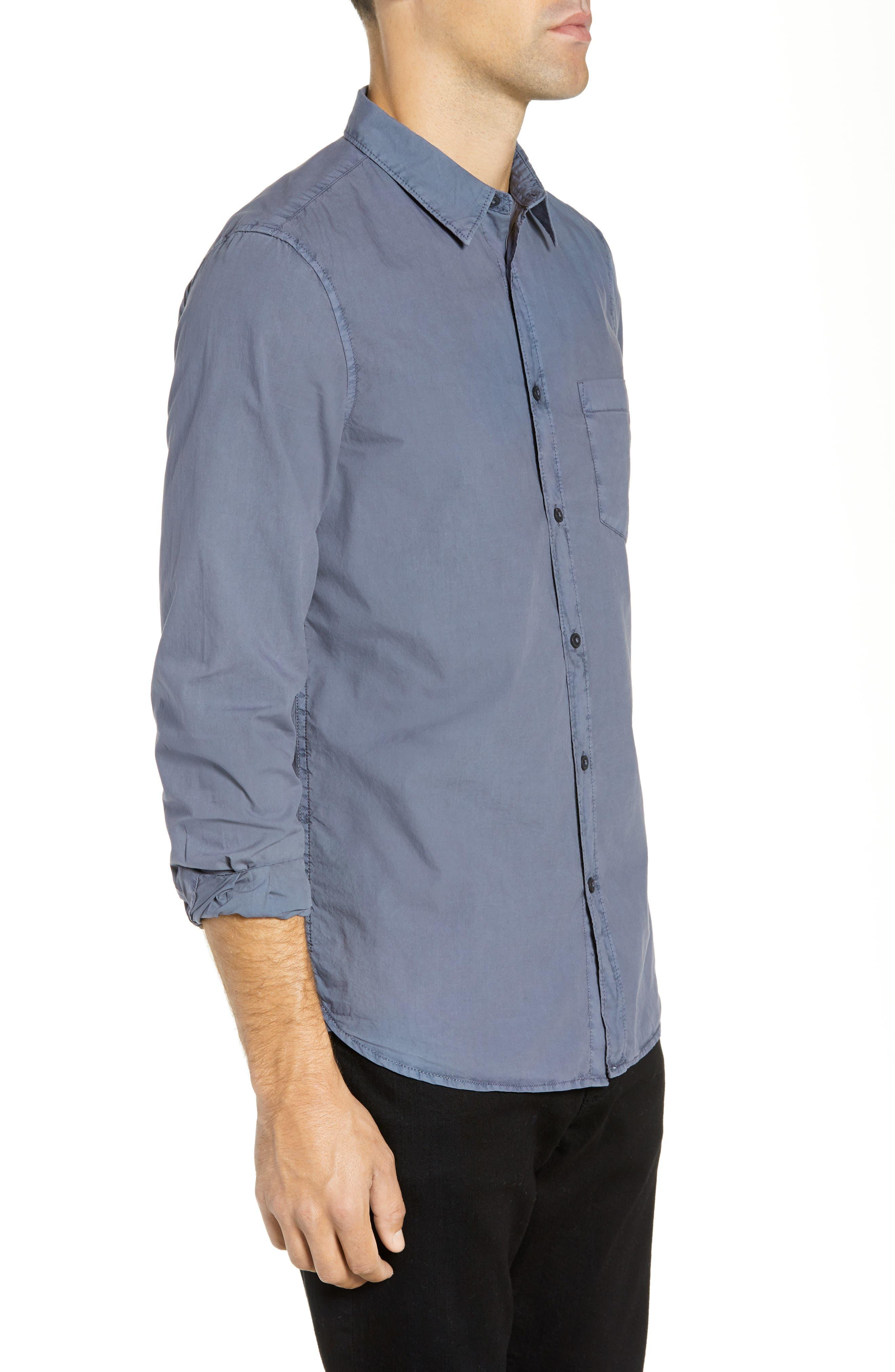 Overdyed Regular Fit Poplin Sport Shirt,                             Alternate thumbnail 4, color,                             RAF BLUE