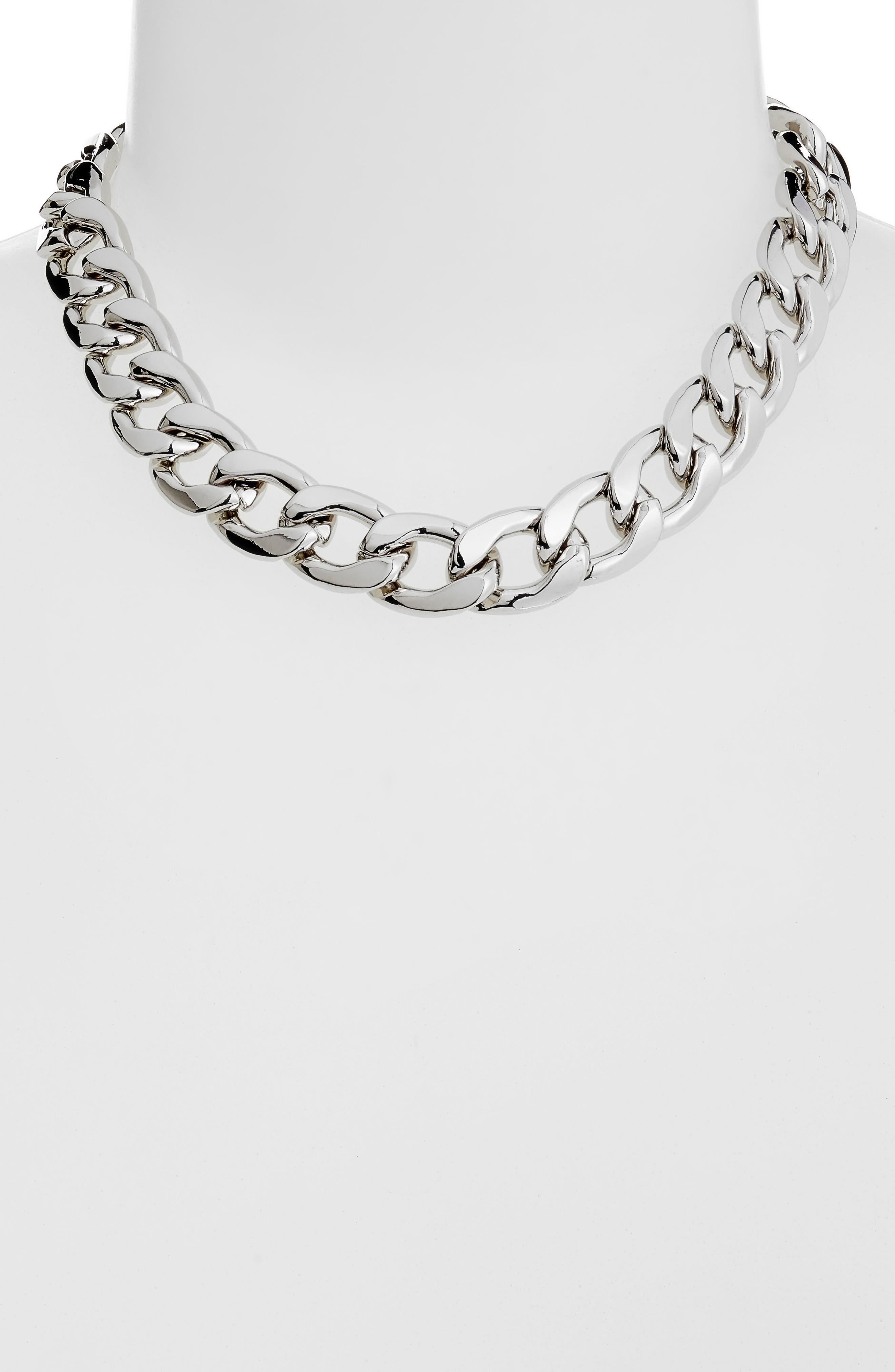 Large Chain Collar Necklace,                             Alternate thumbnail 3, color,                             RHODIUM