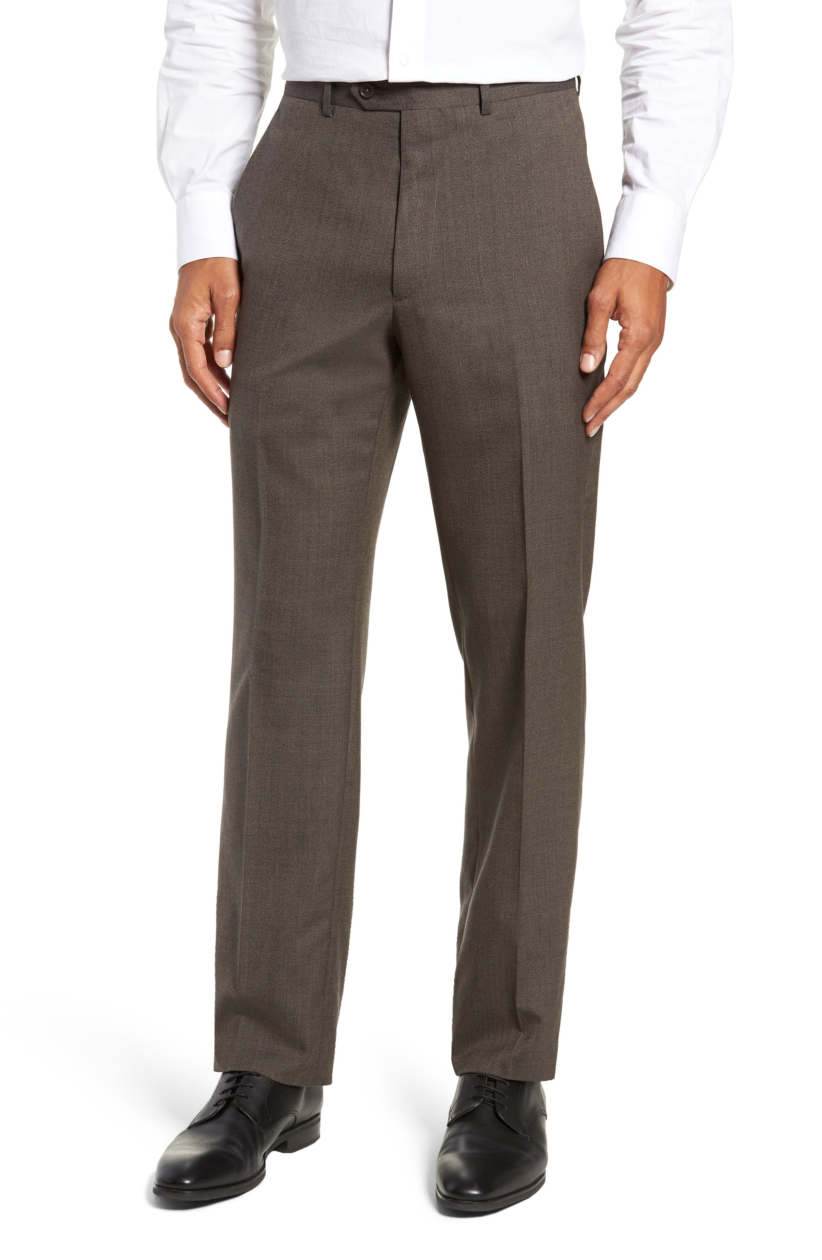 SANTORELLI Flat Front Solid Wool Trousers in Smokey Brown