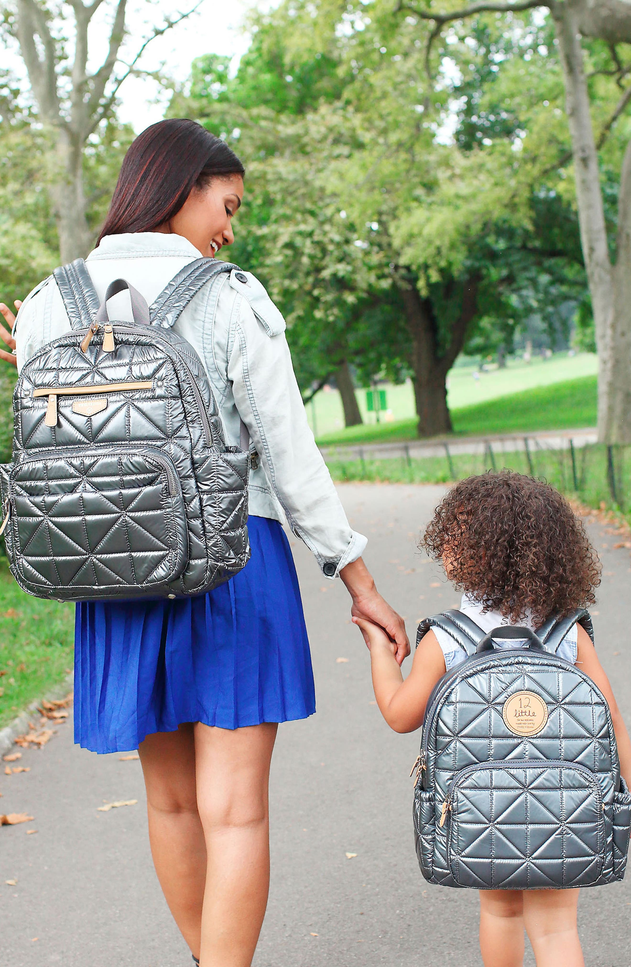 Quilted Water Resistant Nylon Diaper Backpack,                             Alternate thumbnail 5, color,                             PEWTER