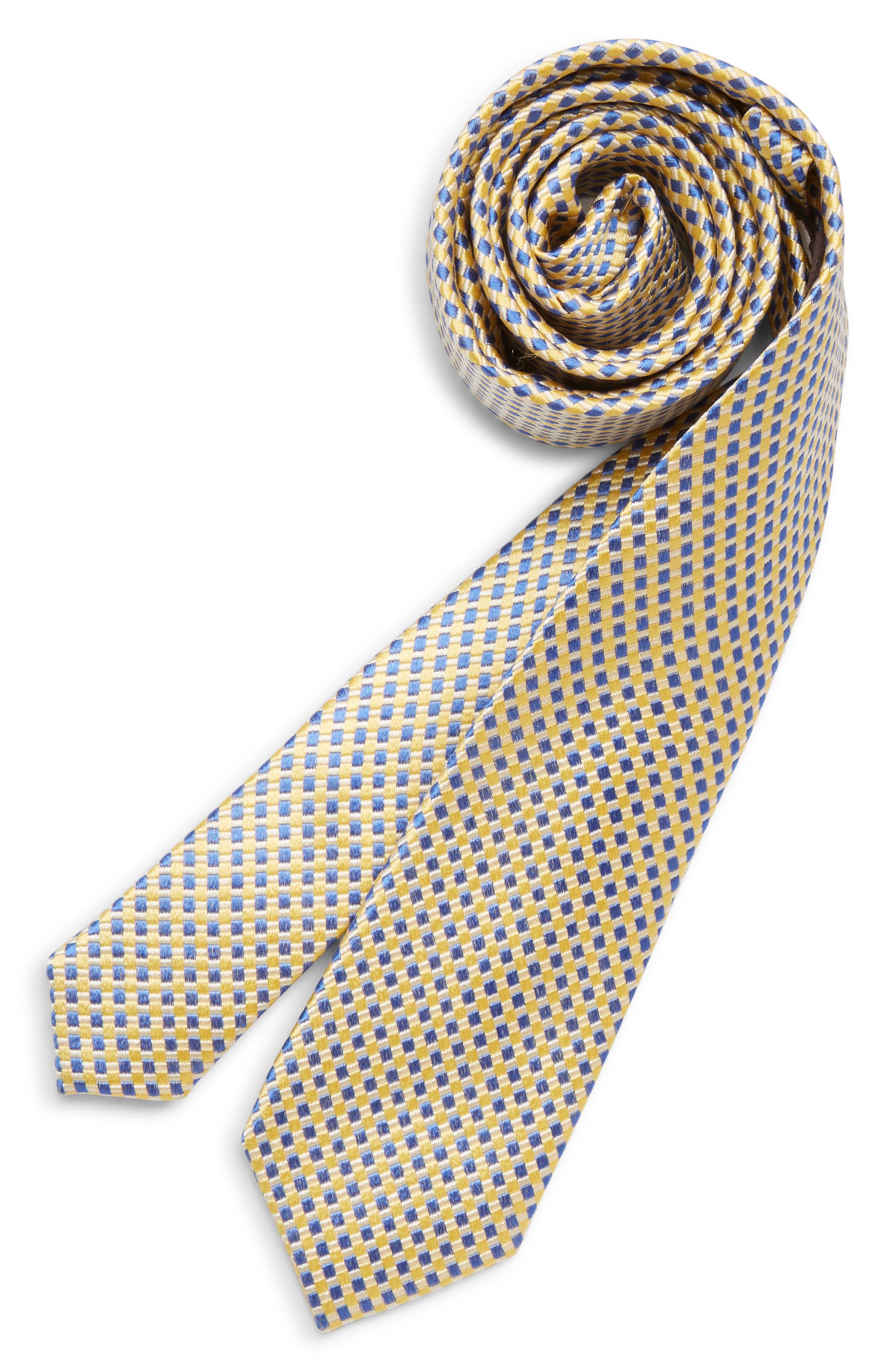 MICHAEL KORS Check Silk Tie, Main, color, YELLOW