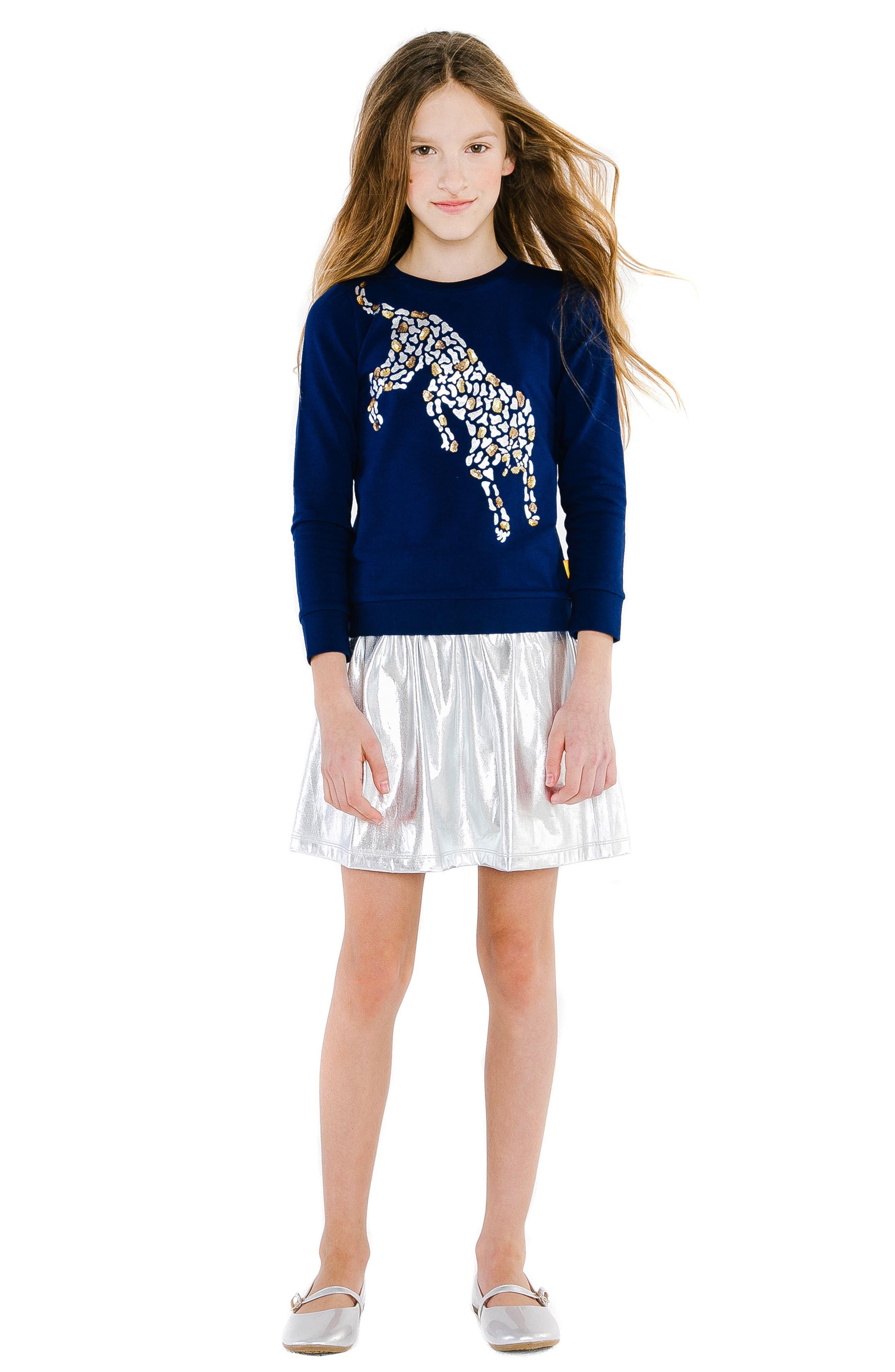 Cheetah Organic Cotton Sweatshirt,                             Alternate thumbnail 2, color,                             NAVY