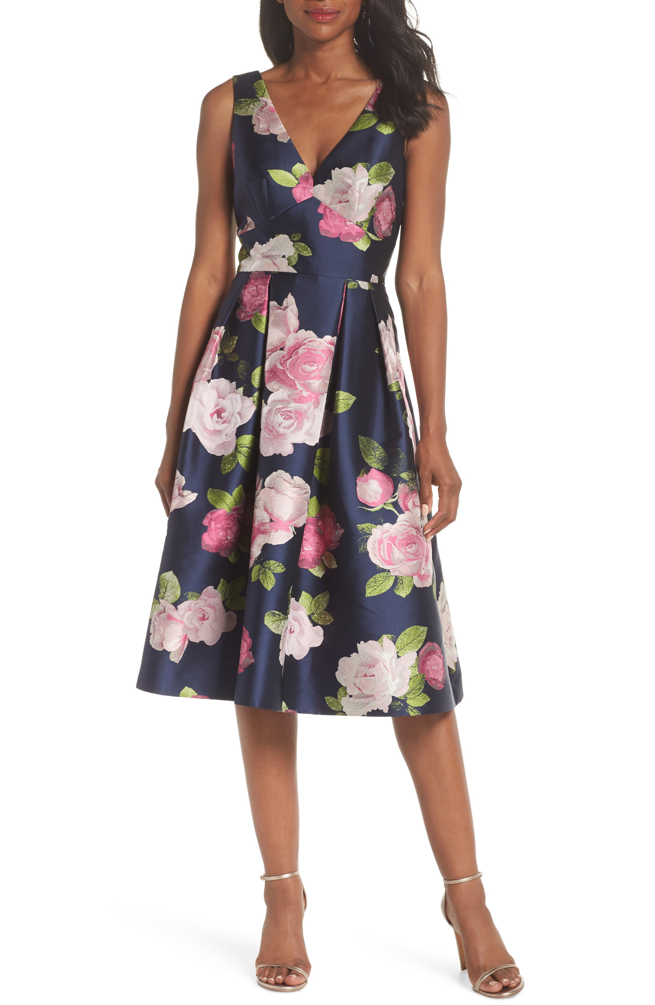 Sleeveless Floral Print Fit & Flare Dress,                             Main thumbnail 1, color,                             NAVY