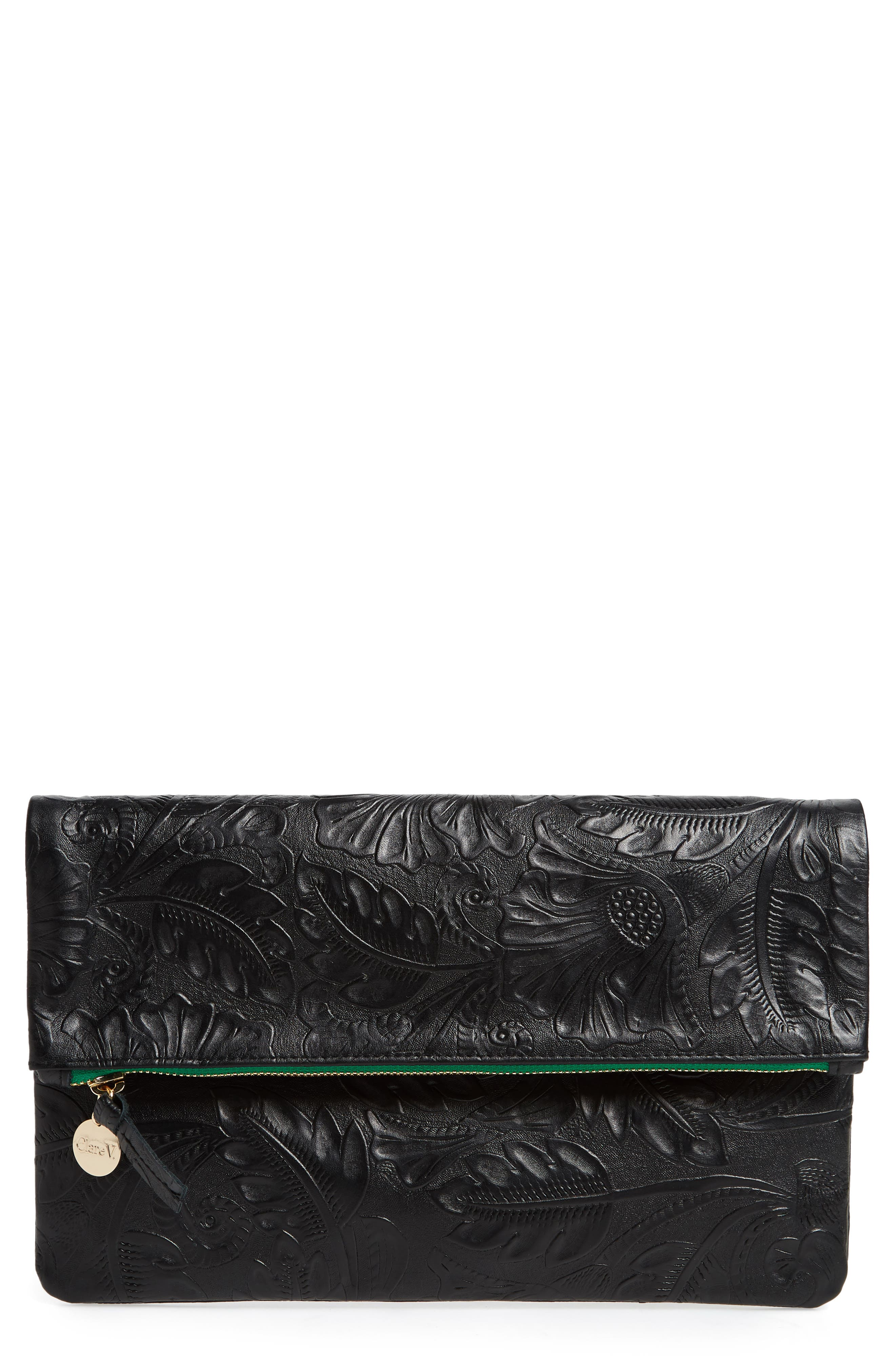 Flower Embossed Foldover Leather Clutch,                         Main,                         color, BLACK