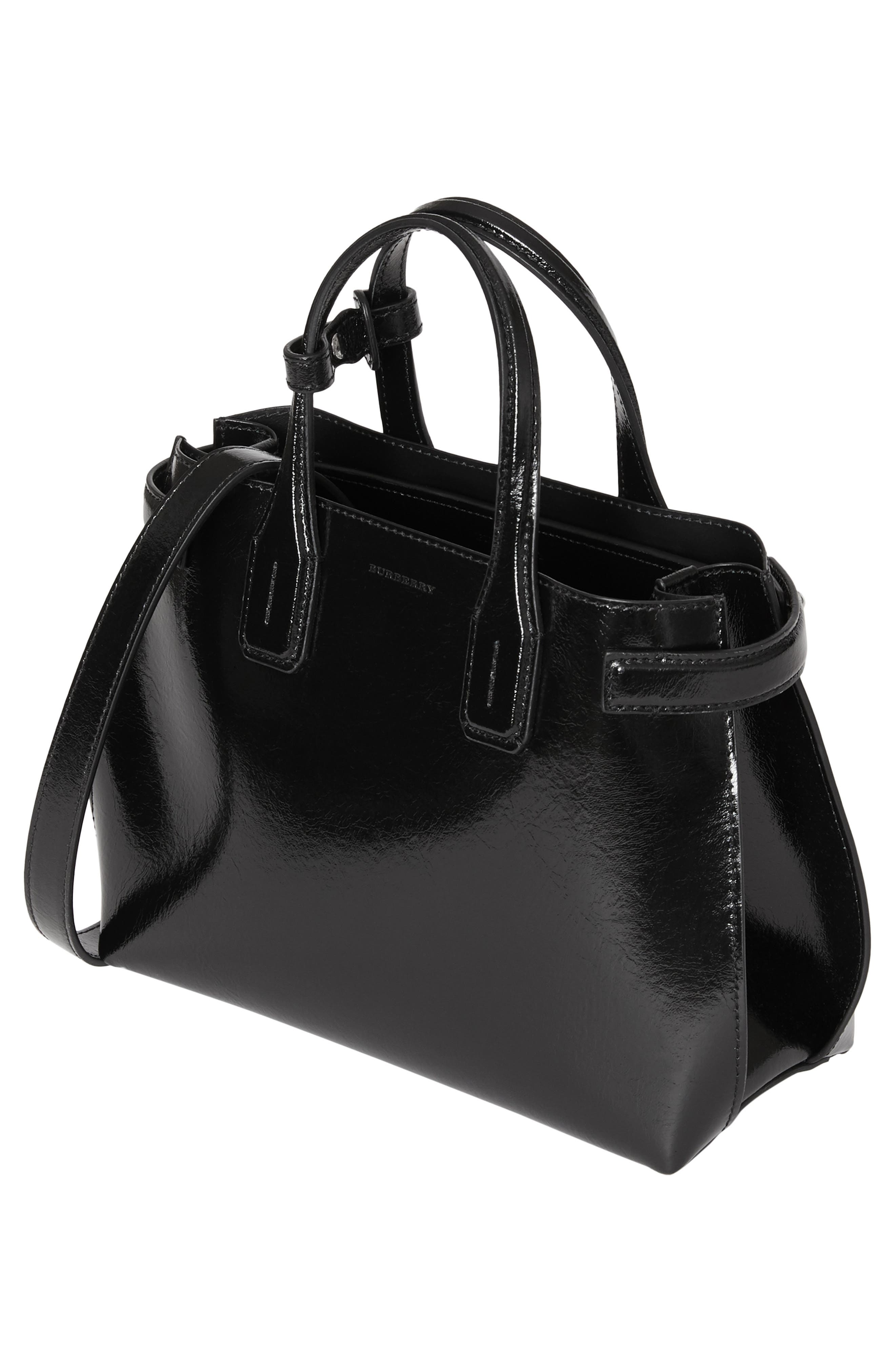 Small Banner Leather Tote,                             Alternate thumbnail 4, color,                             BLACK