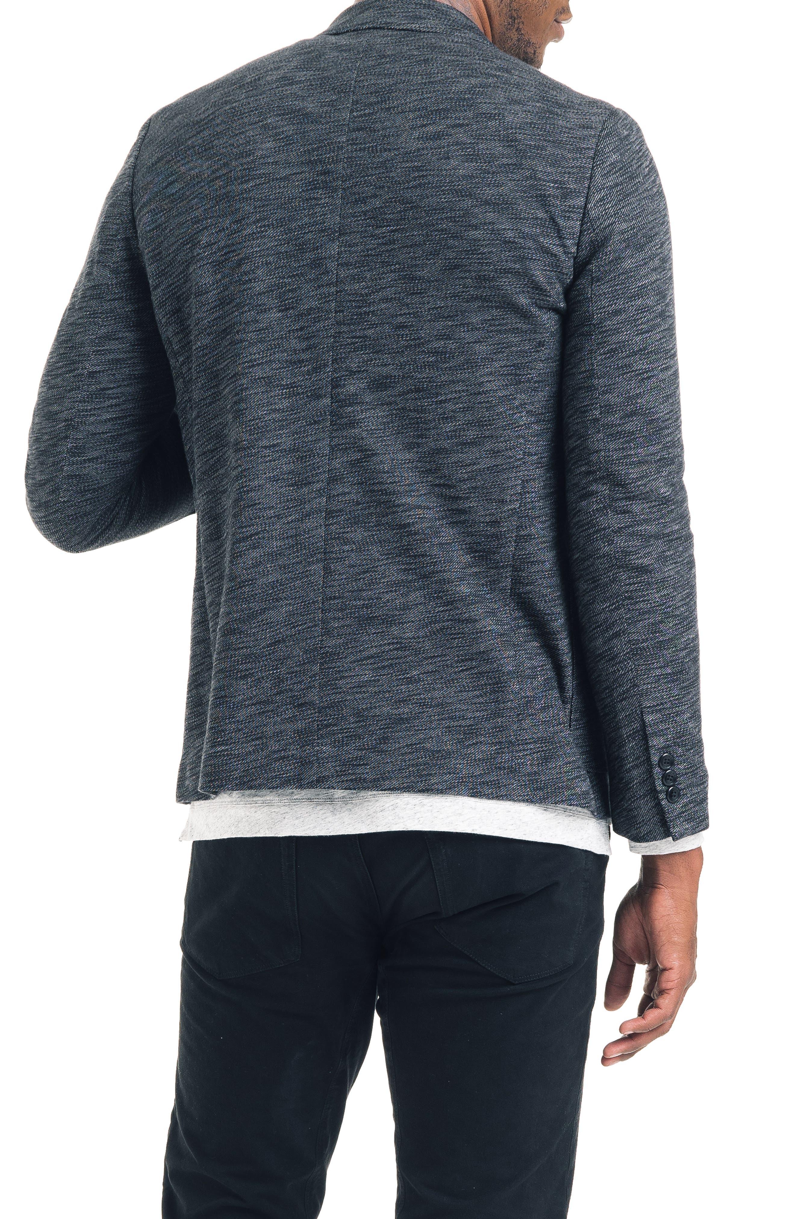 Slim Fit Vintage Twill Knit Blazer,                             Alternate thumbnail 2, color,                             BLACK / GREY HEATHER