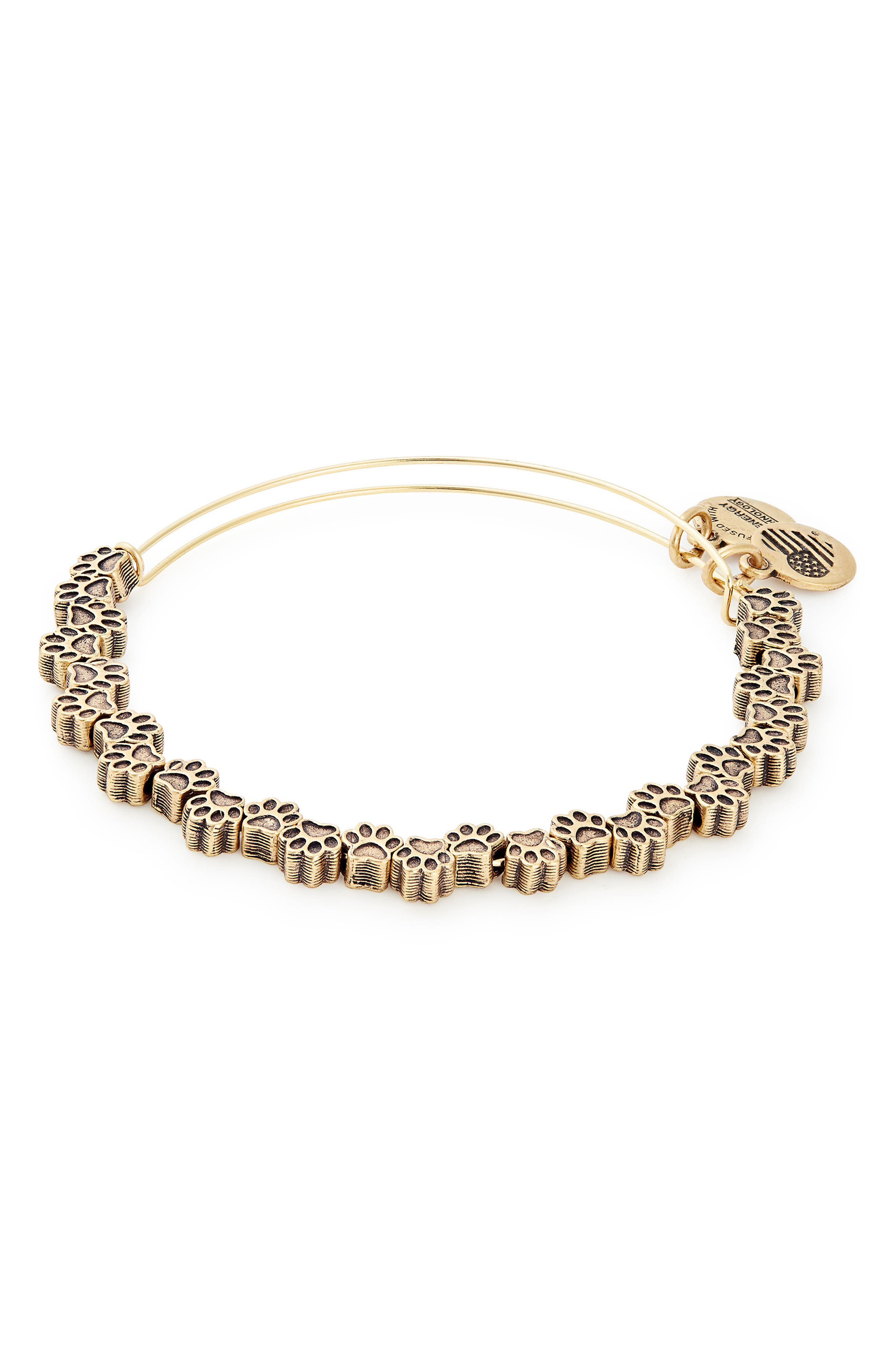 ALEX AND ANI Paw Print Beaded Adjustable Wire Bangle, Main, color, 710