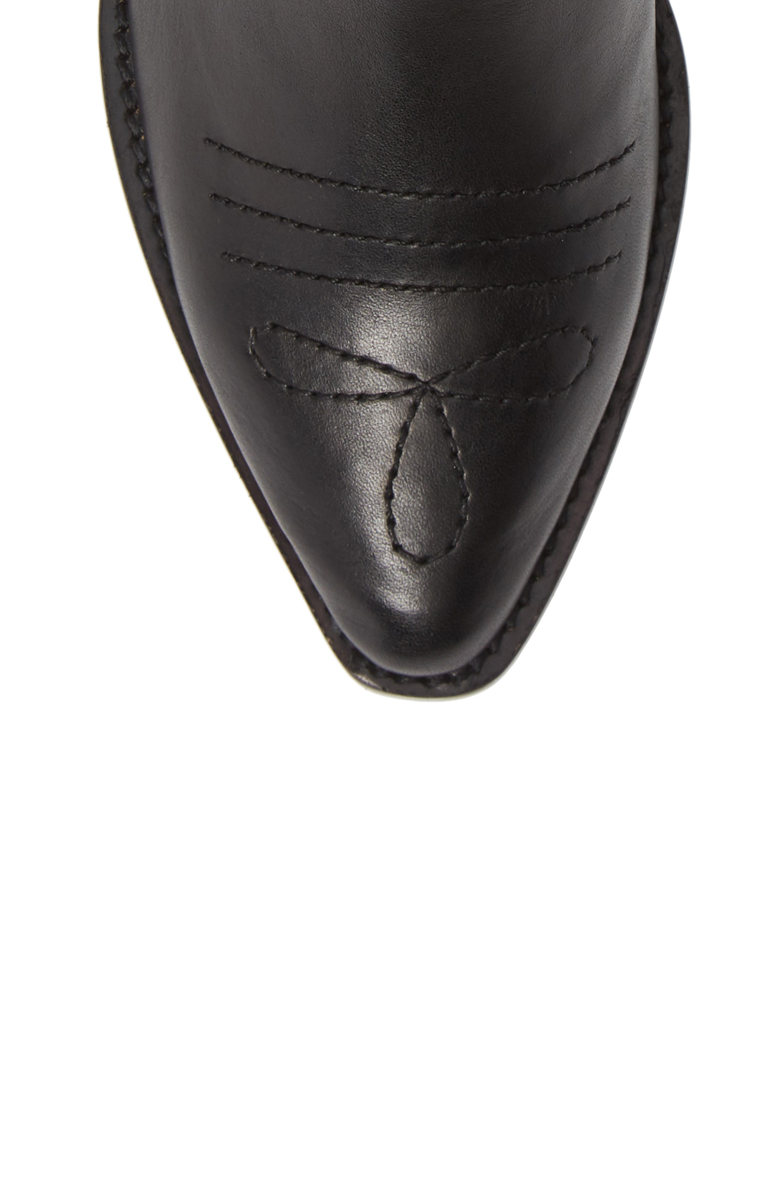 Texas Bootie,                             Alternate thumbnail 5, color,                             BLACK LEATHER