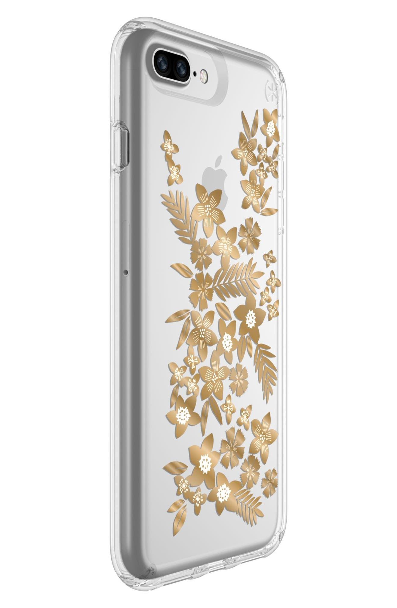 Floral iPhone 6 Plus/6s Plus/7 Plus/8 Plus Case,                             Alternate thumbnail 6, color,                             SHIMMER FLORAL METALLIC/ CLEAR