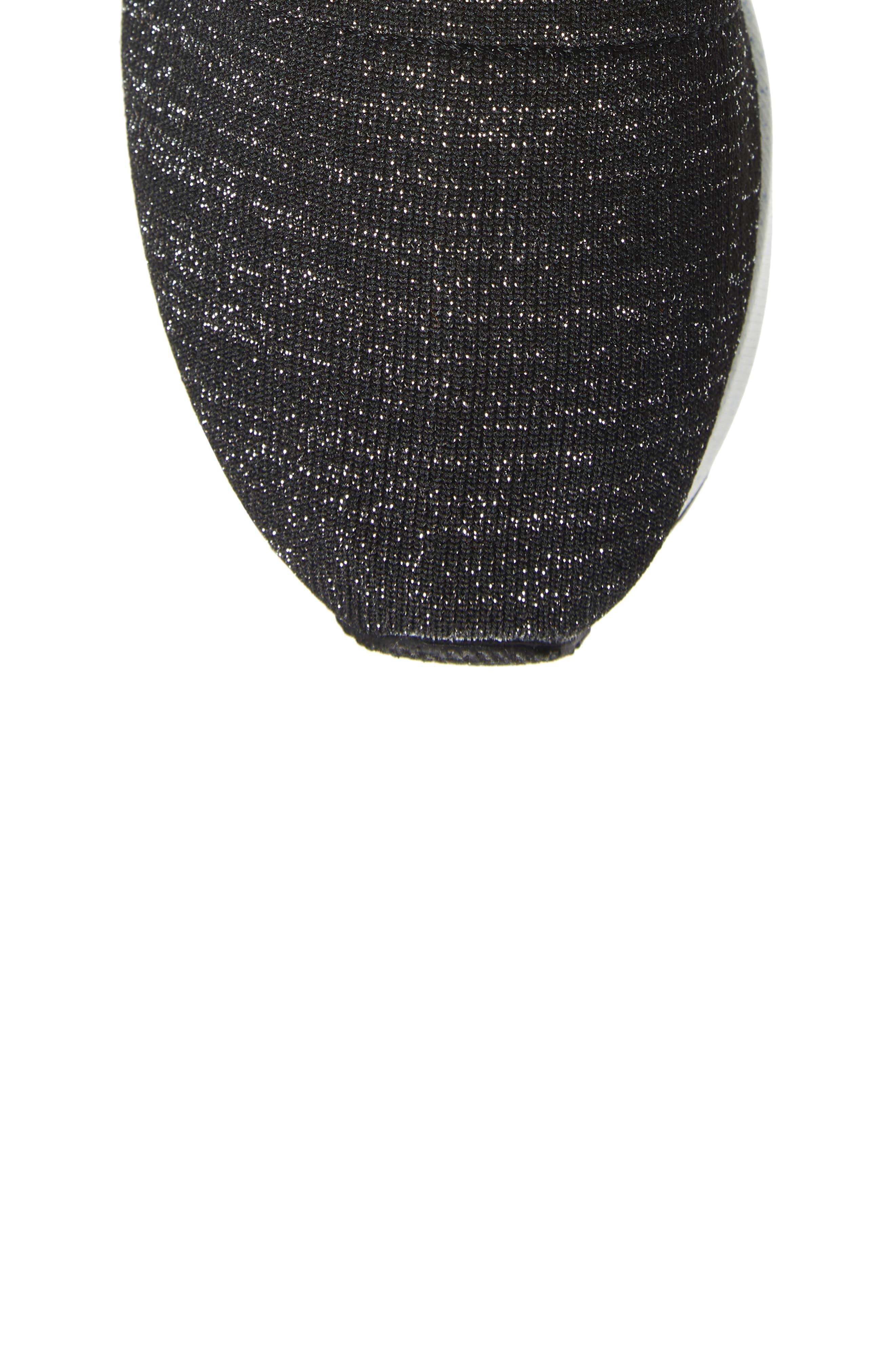 Neo Flex Metallic Wedge Sneaker,                             Alternate thumbnail 5, color,                             BLACK METALLIC