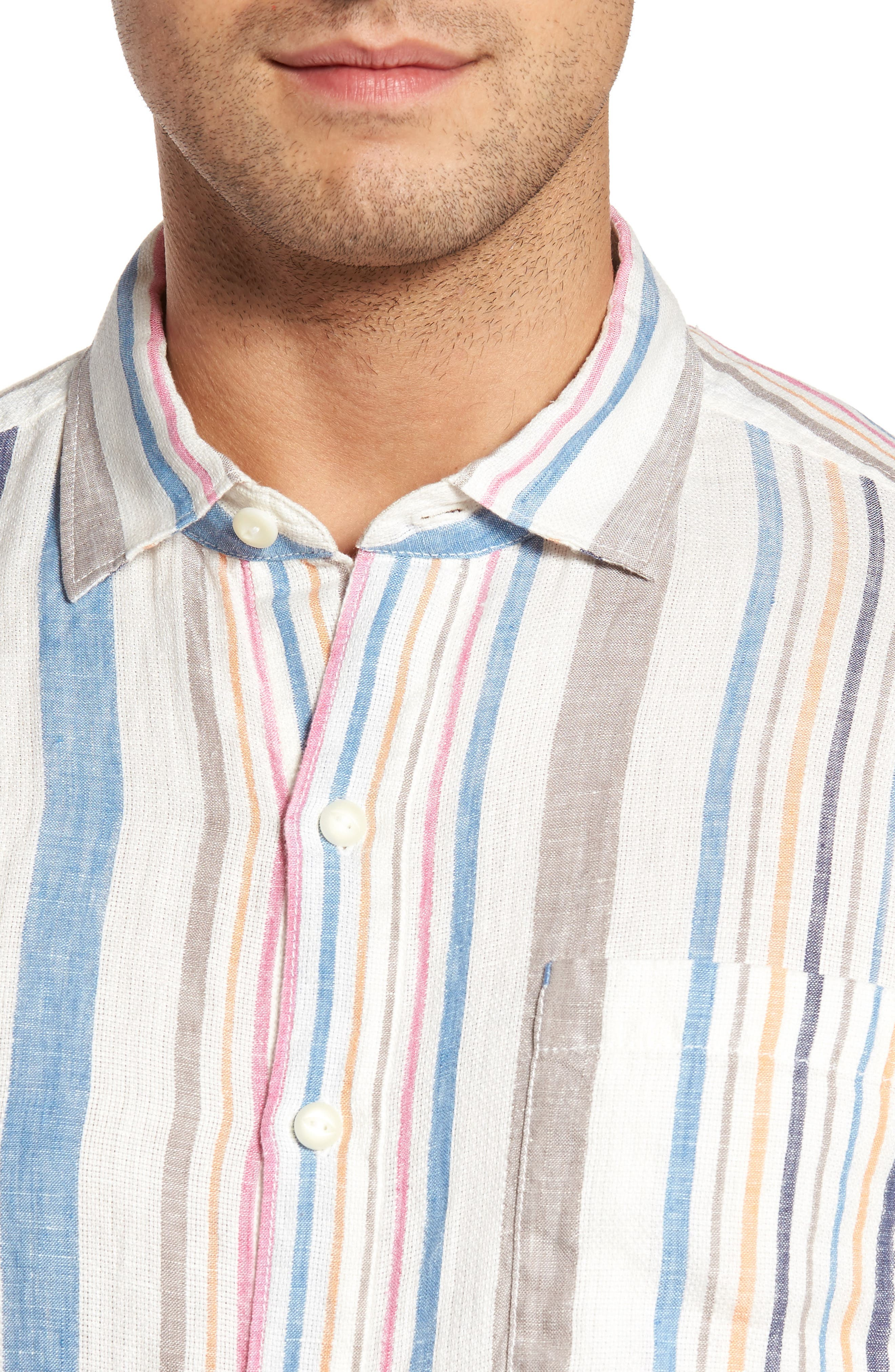 Raffia Stripe Linen Sport Shirt,                             Alternate thumbnail 4, color,                             400