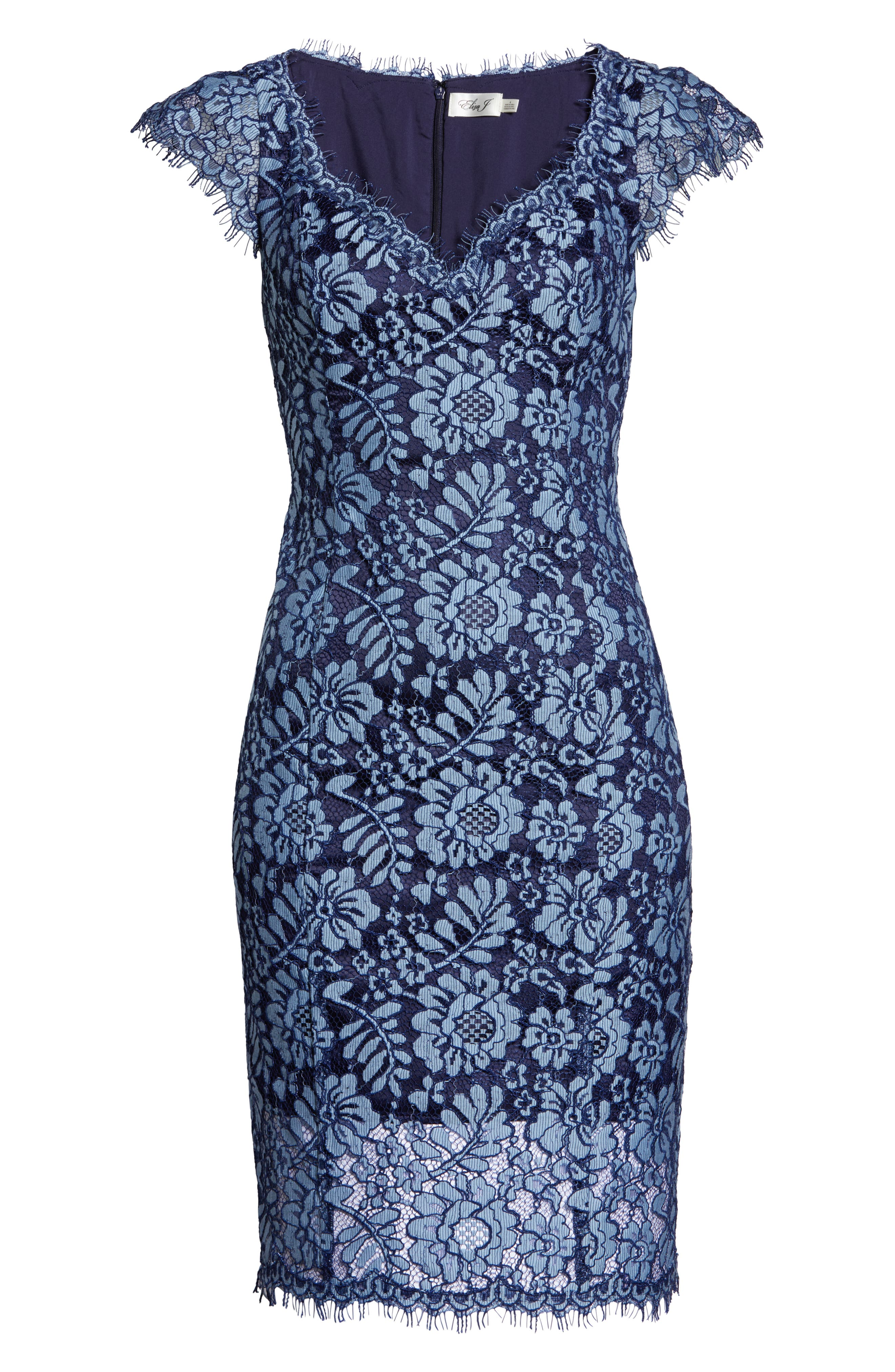 ELIZA J,                             Floral Lace Sheath Dress,                             Alternate thumbnail 7, color,                             NAVY