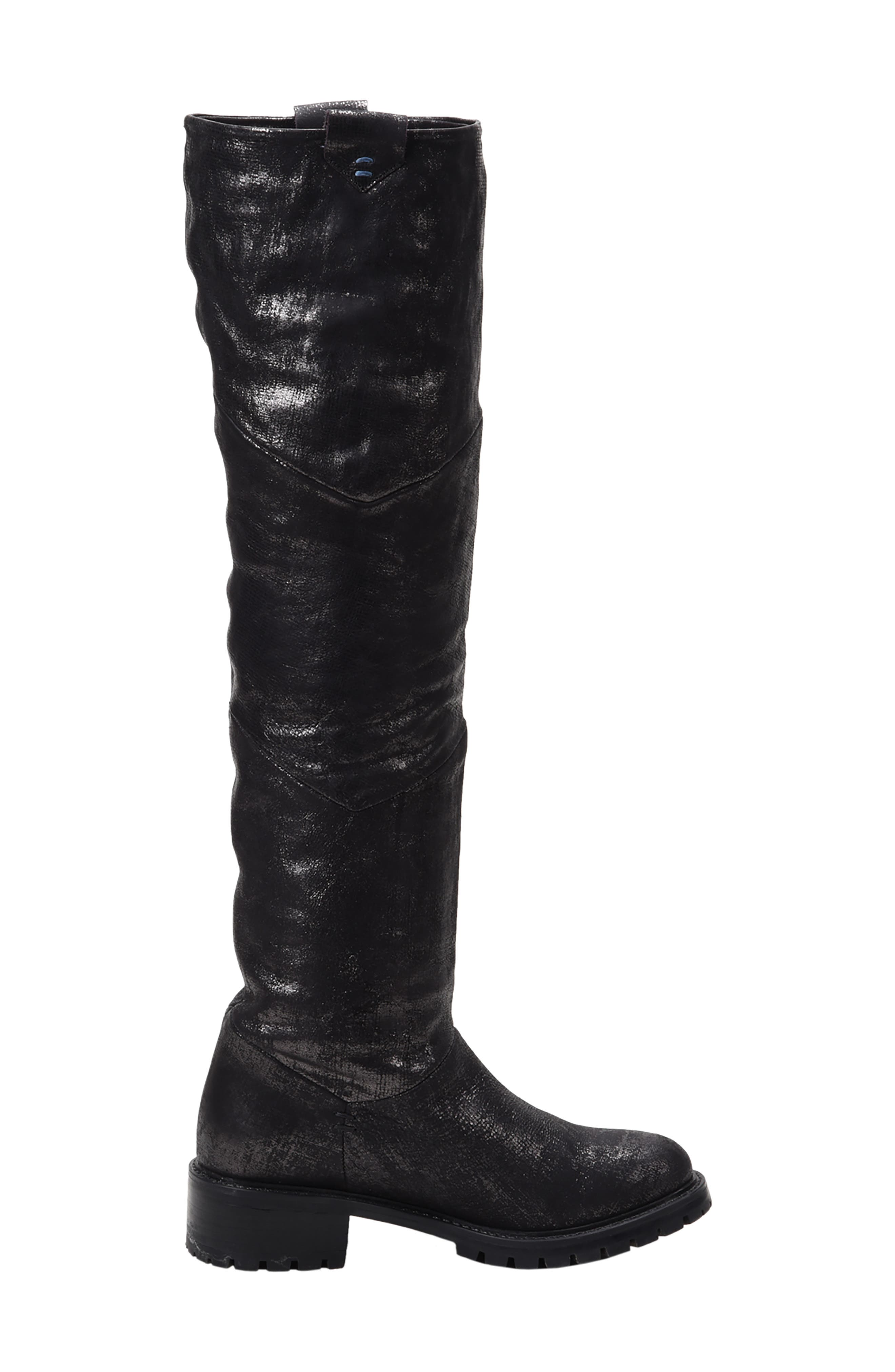 Elena Waterproof Genuine Shearling Lined Knee High Boot,                             Alternate thumbnail 7, color,                             BLACK/ SILVER LEATHER