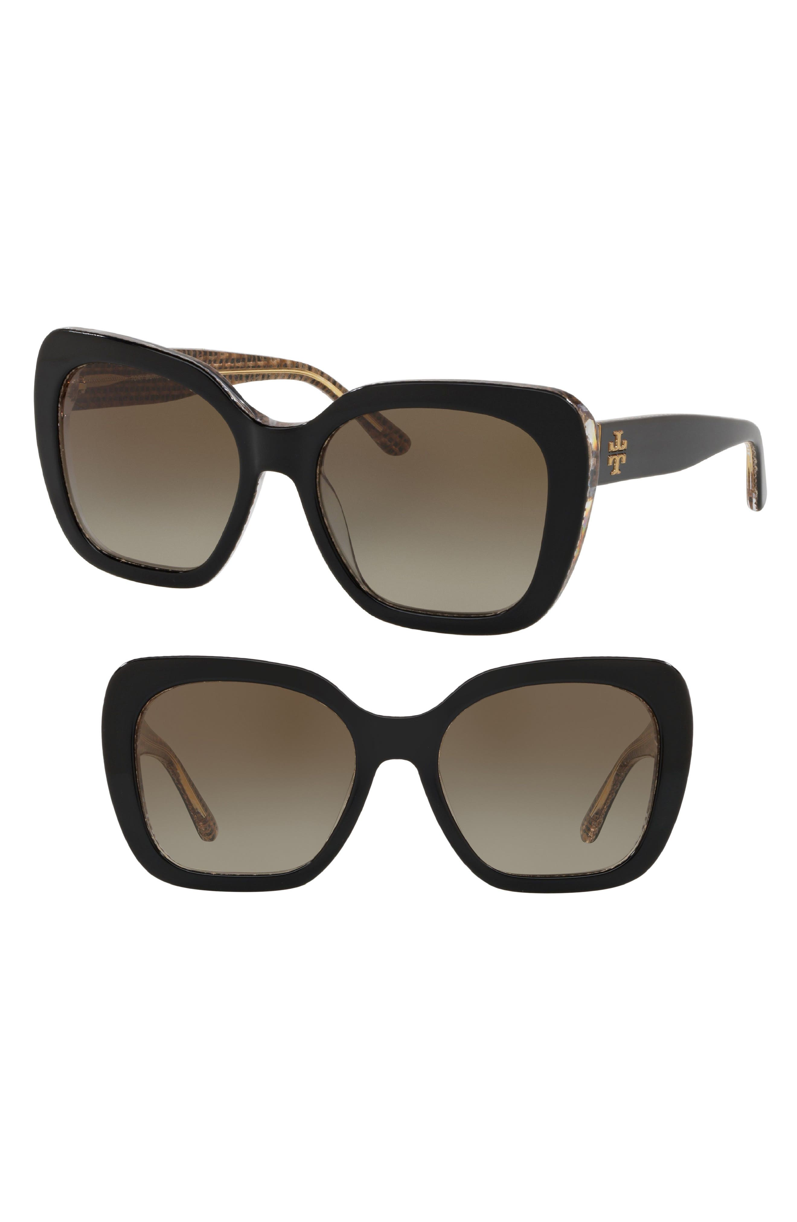 Raffia 56mm Square Sunglasses,                             Main thumbnail 1, color,                             BLACK CRYSTAL GRADIENT