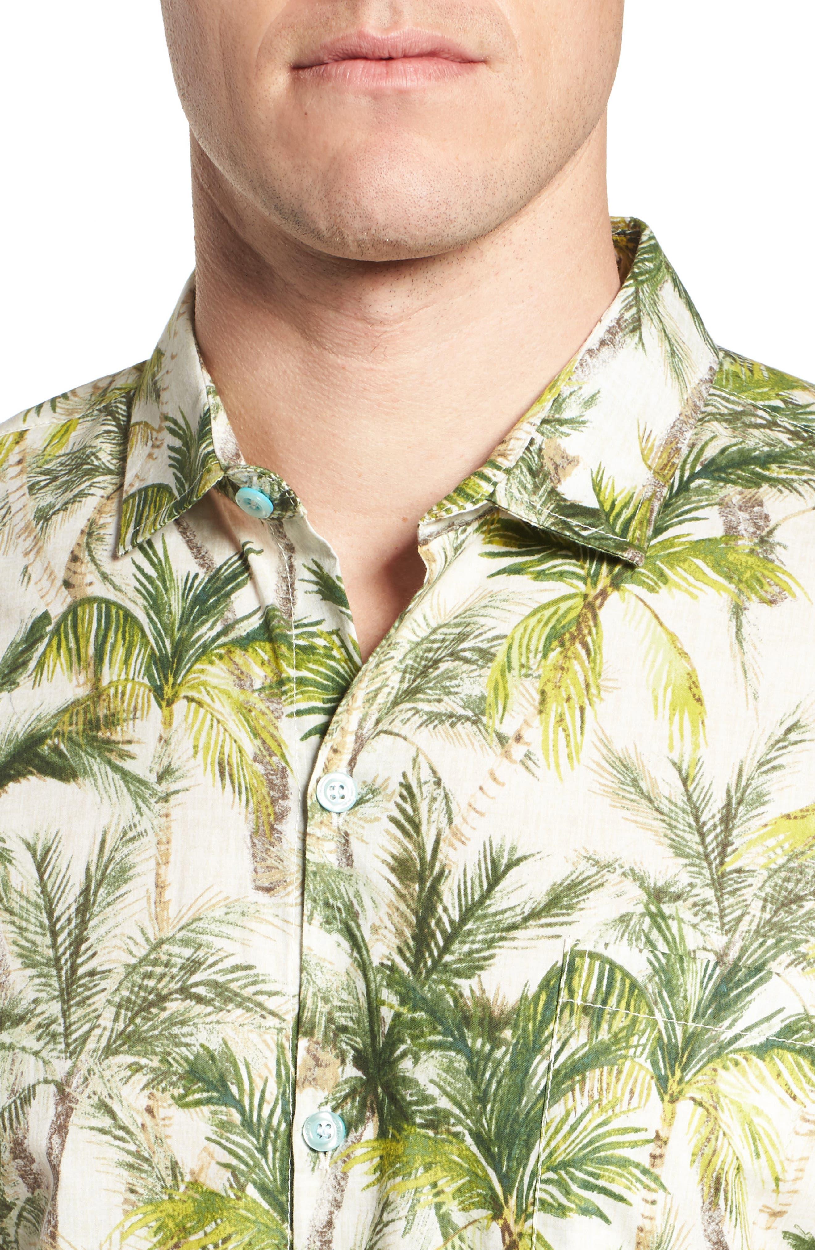 Coco Vida Trim Fit Print Cotton Lawn Sport Shirt,                             Alternate thumbnail 4, color,                             102
