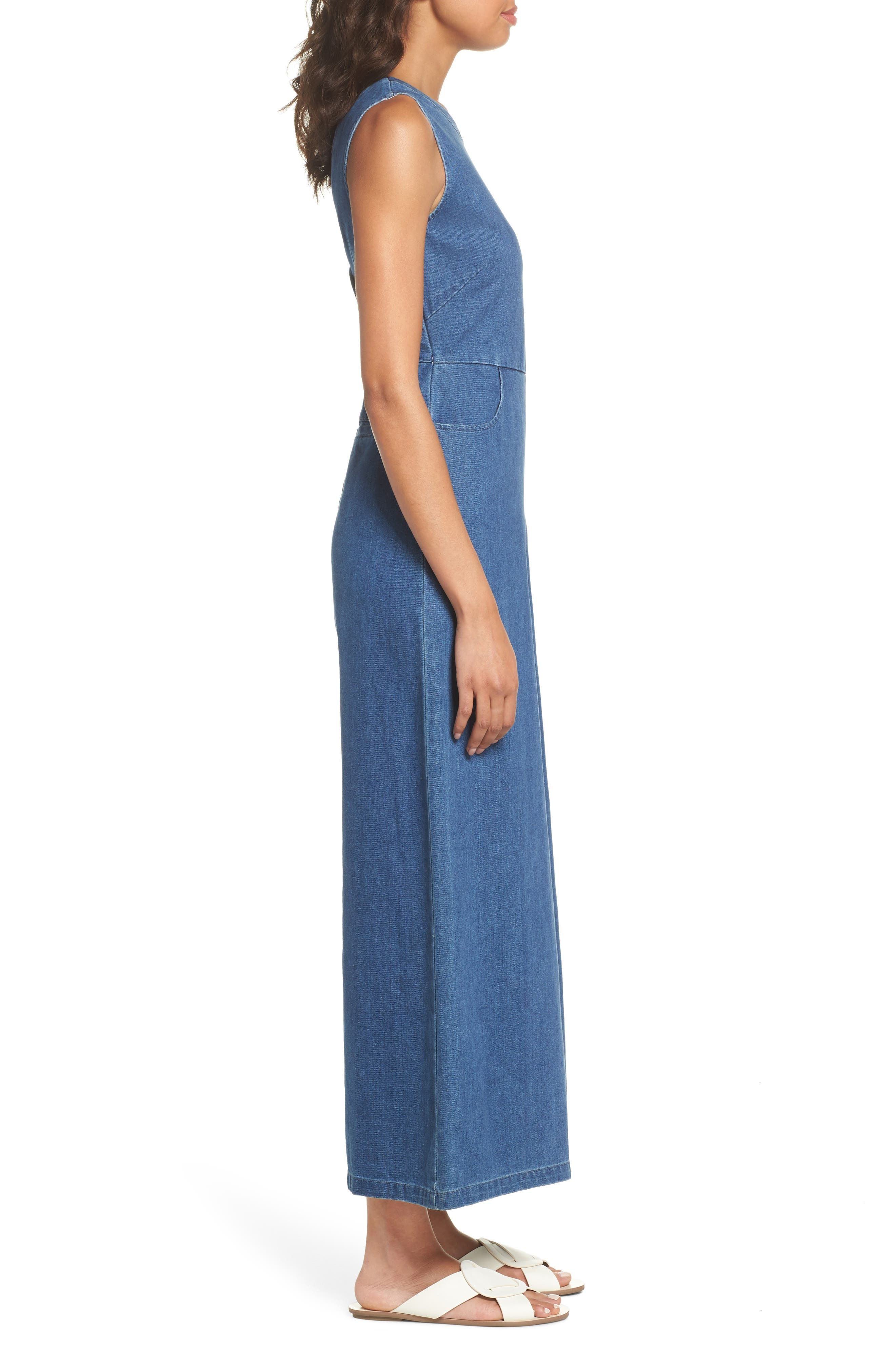 Hampton Denim Sleeveless Jumpsuit,                             Alternate thumbnail 3, color,                             400
