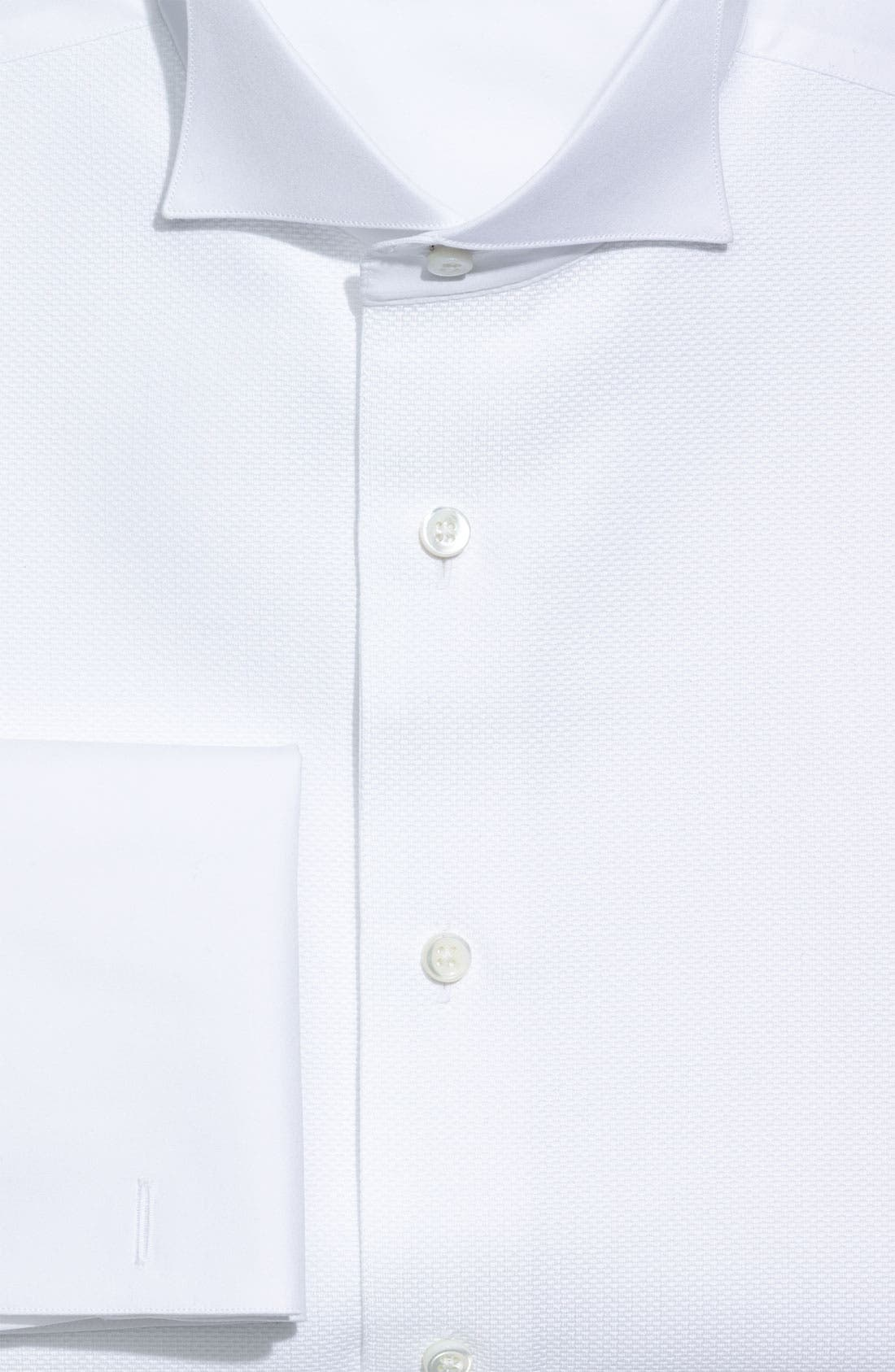 Regular Fit French Cuff Tuxedo Shirt,                             Alternate thumbnail 3, color,                             WHITE