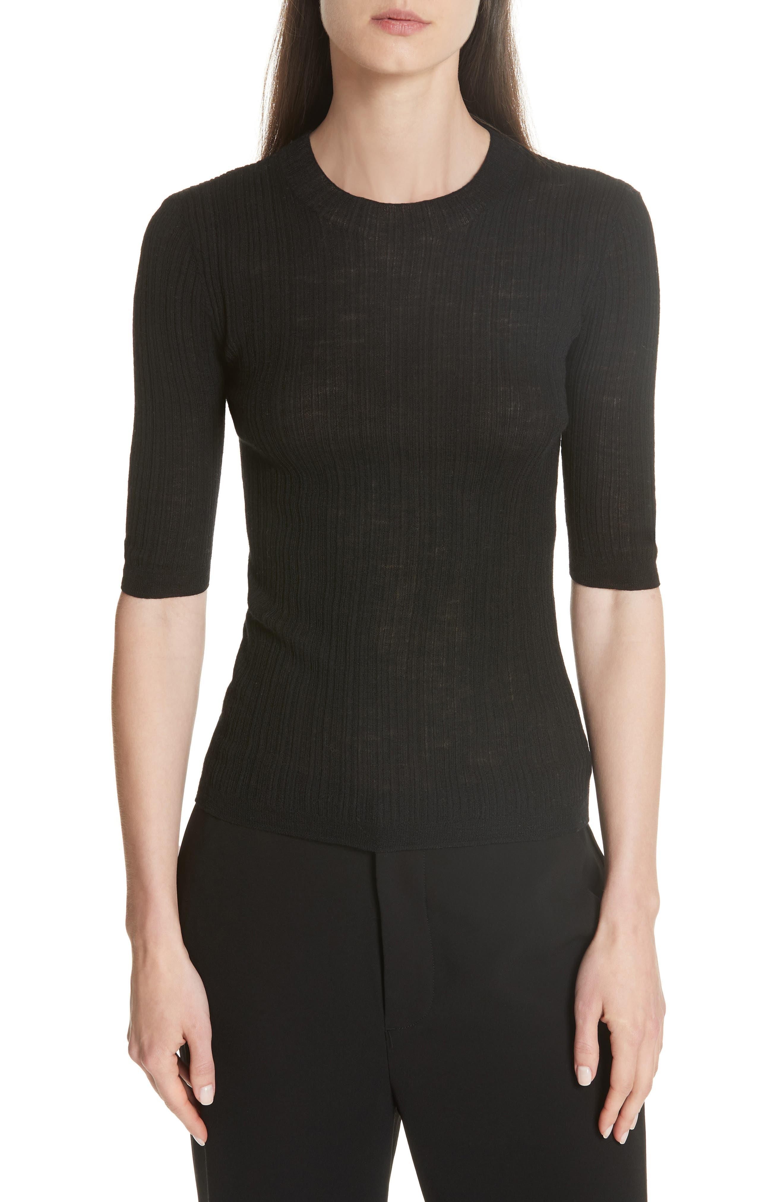 Shrunken Merino Wool Sweater,                         Main,                         color, BLACK