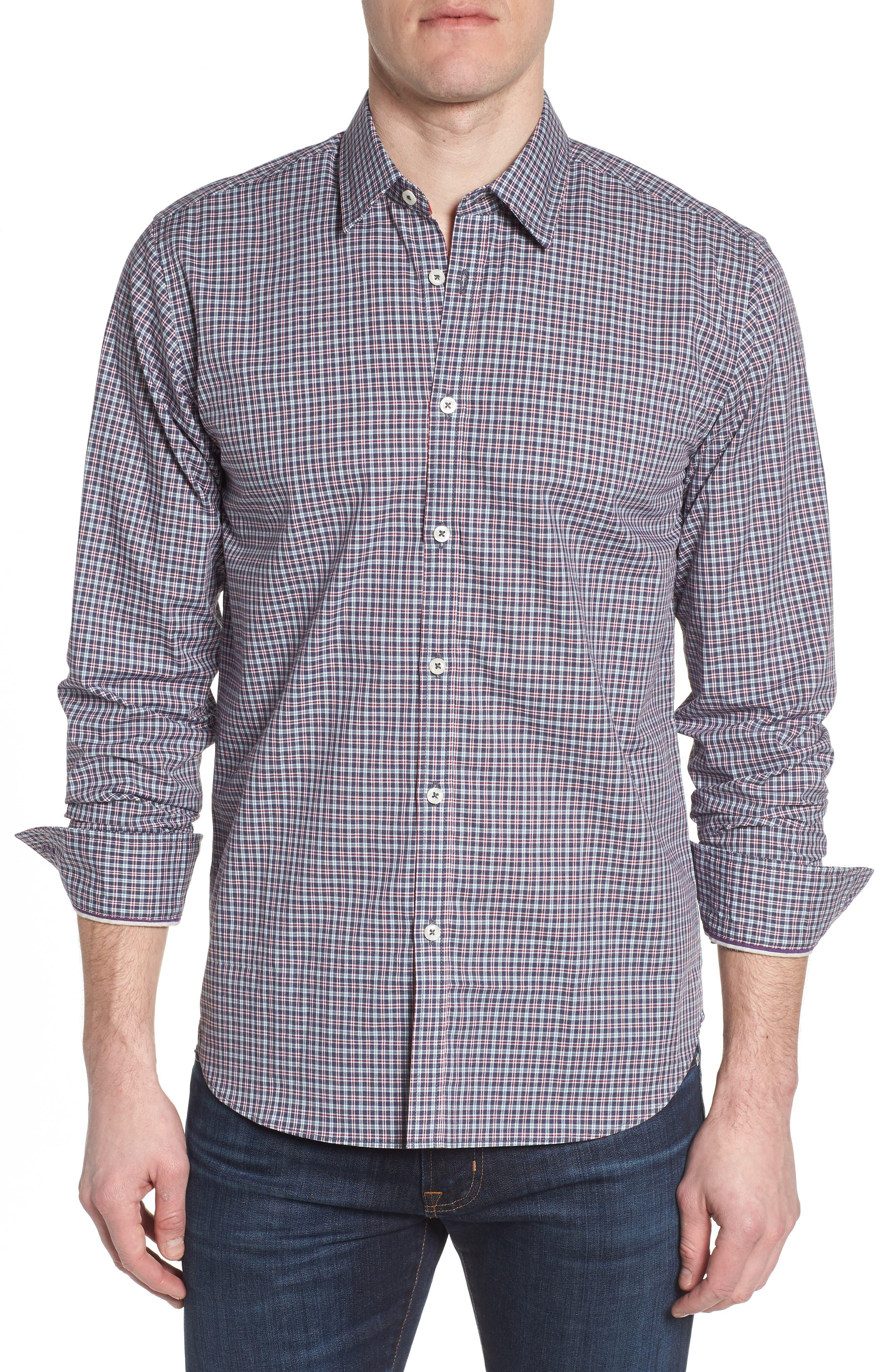 Slim Fit Check Sport Shirt,                             Main thumbnail 1, color,                             031