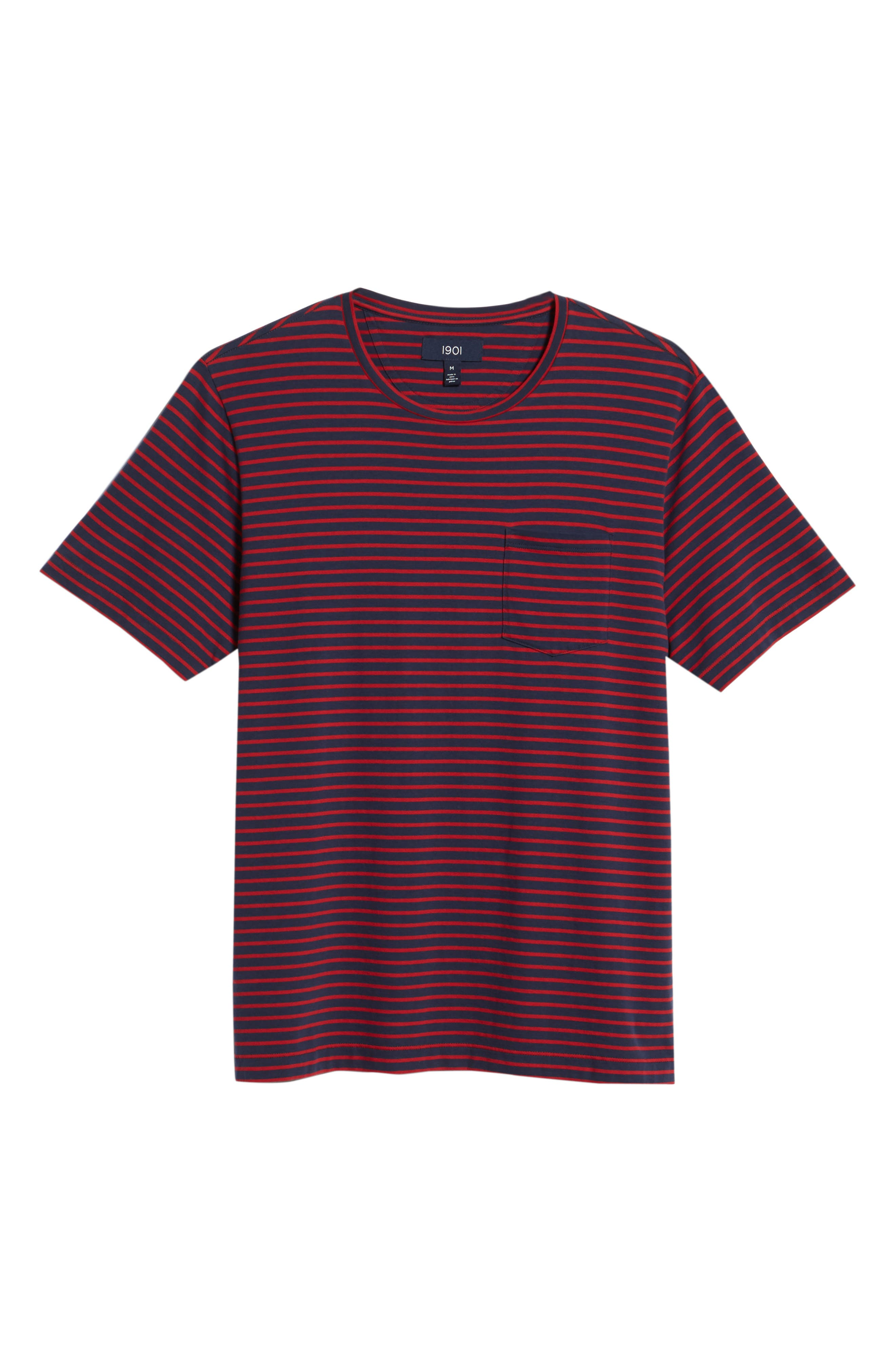 Stripe Brushed Pima Cotton T-Shirt,                             Alternate thumbnail 18, color,