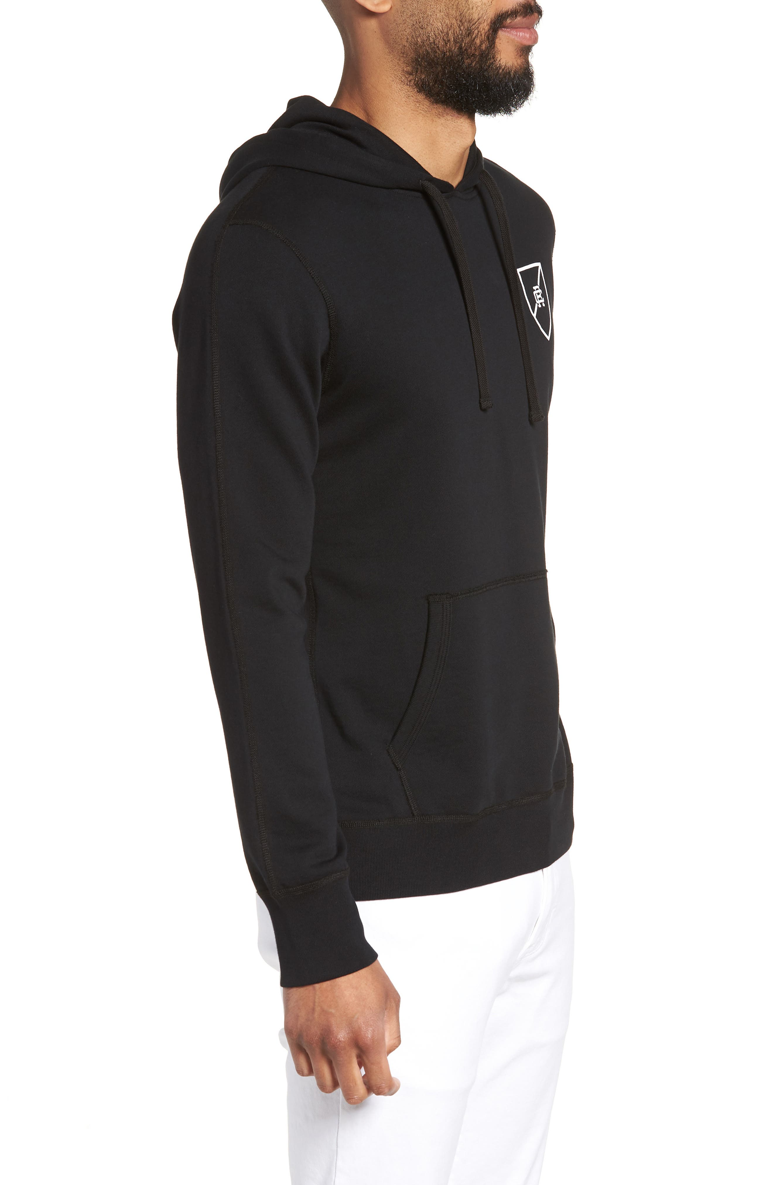 Shield Logo Hooded Pullover,                             Alternate thumbnail 3, color,                             003