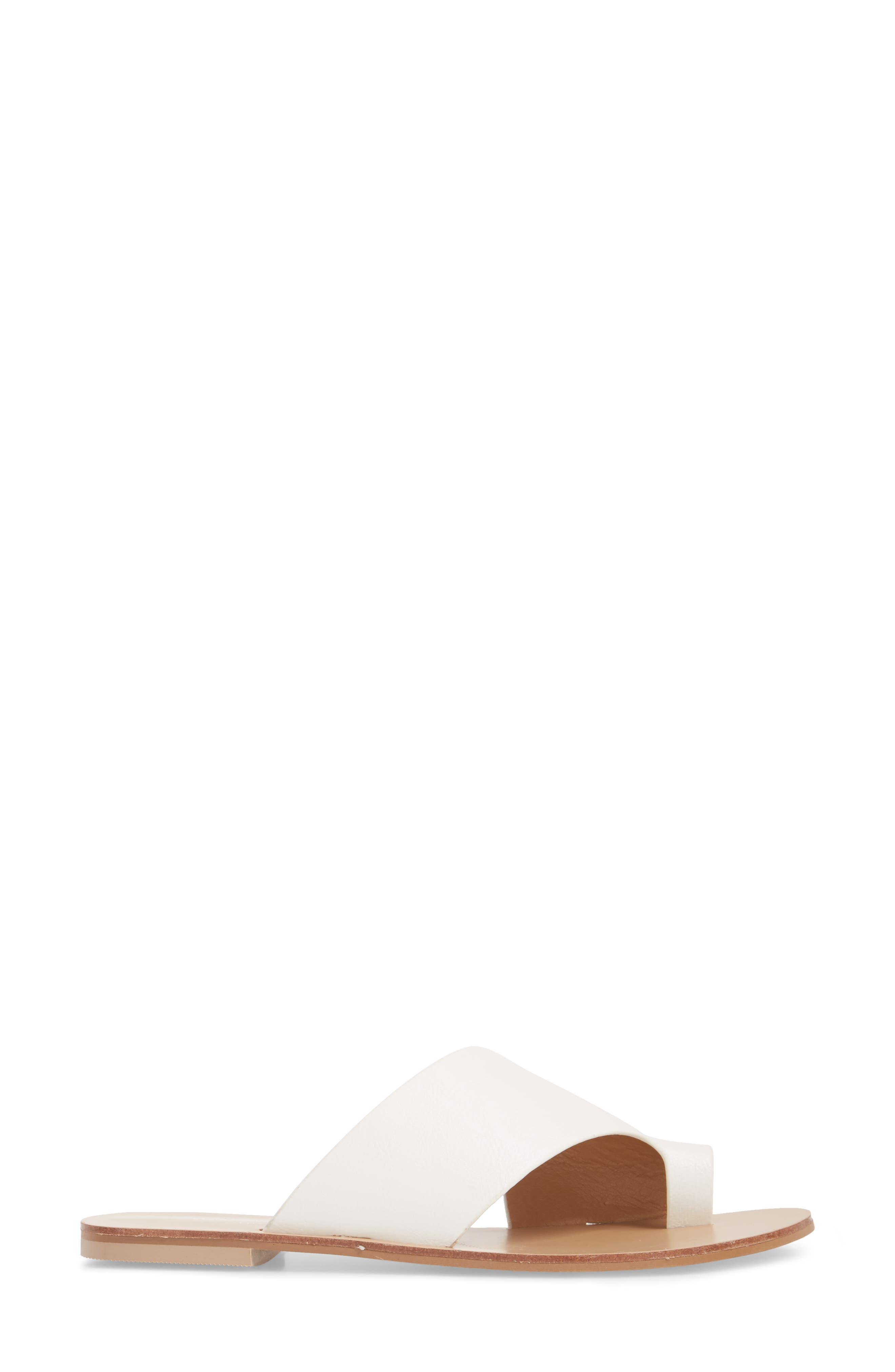 Glory Asymmetrical Slide Sandal,                             Alternate thumbnail 3, color,                             WHITE