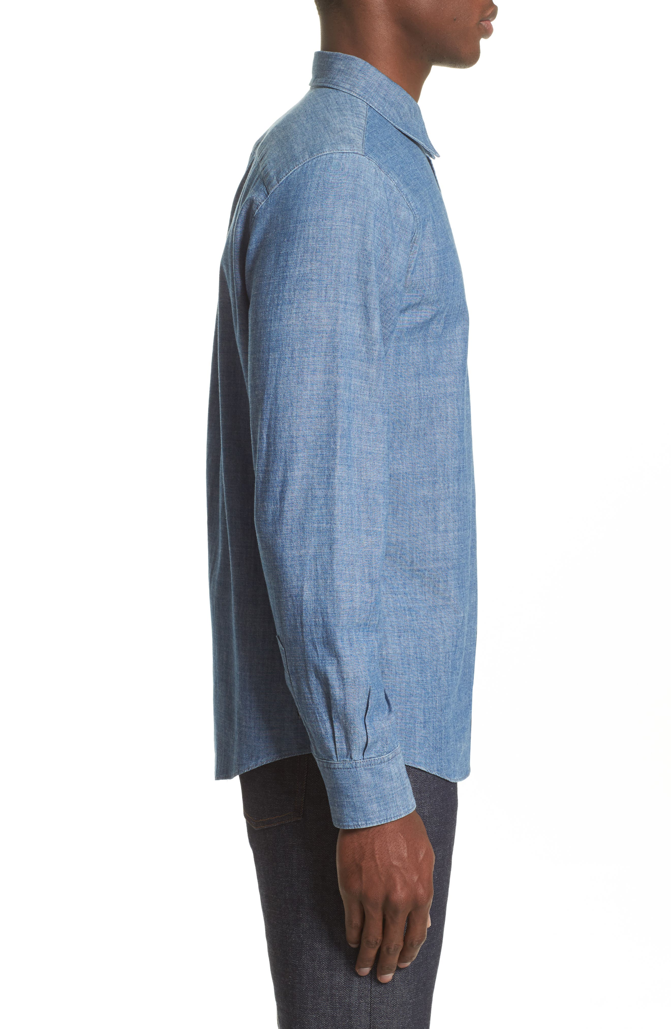 Chambray Chemise Shirt,                             Alternate thumbnail 4, color,                             461
