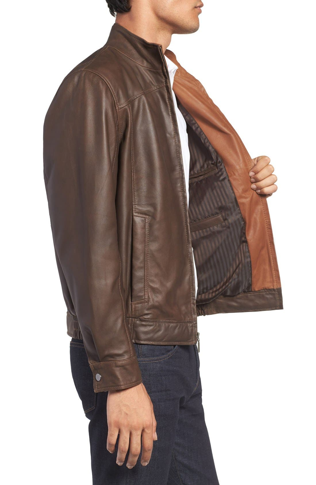 Leather Bomber Jacket,                             Alternate thumbnail 4, color,