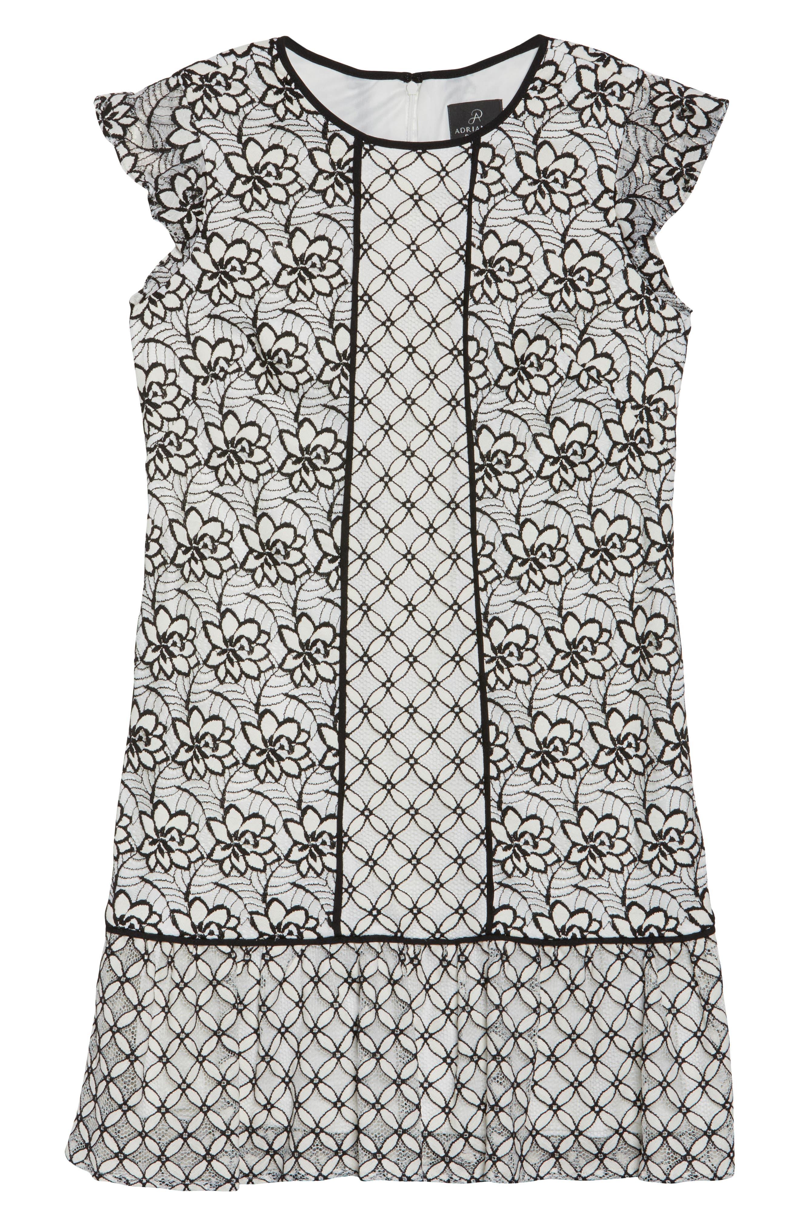 Lace Shift Dress,                             Alternate thumbnail 6, color,                             002
