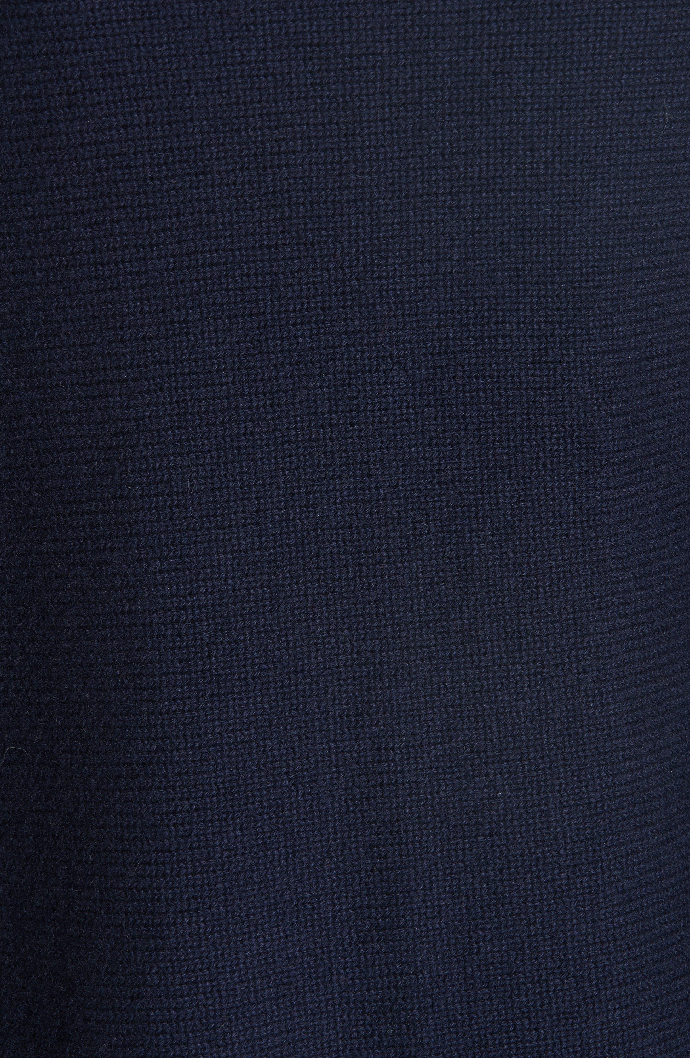Cashmere & Genuine Mink Fur Wrap,                             Alternate thumbnail 5, color,                             ULTRAMARINE NAVY
