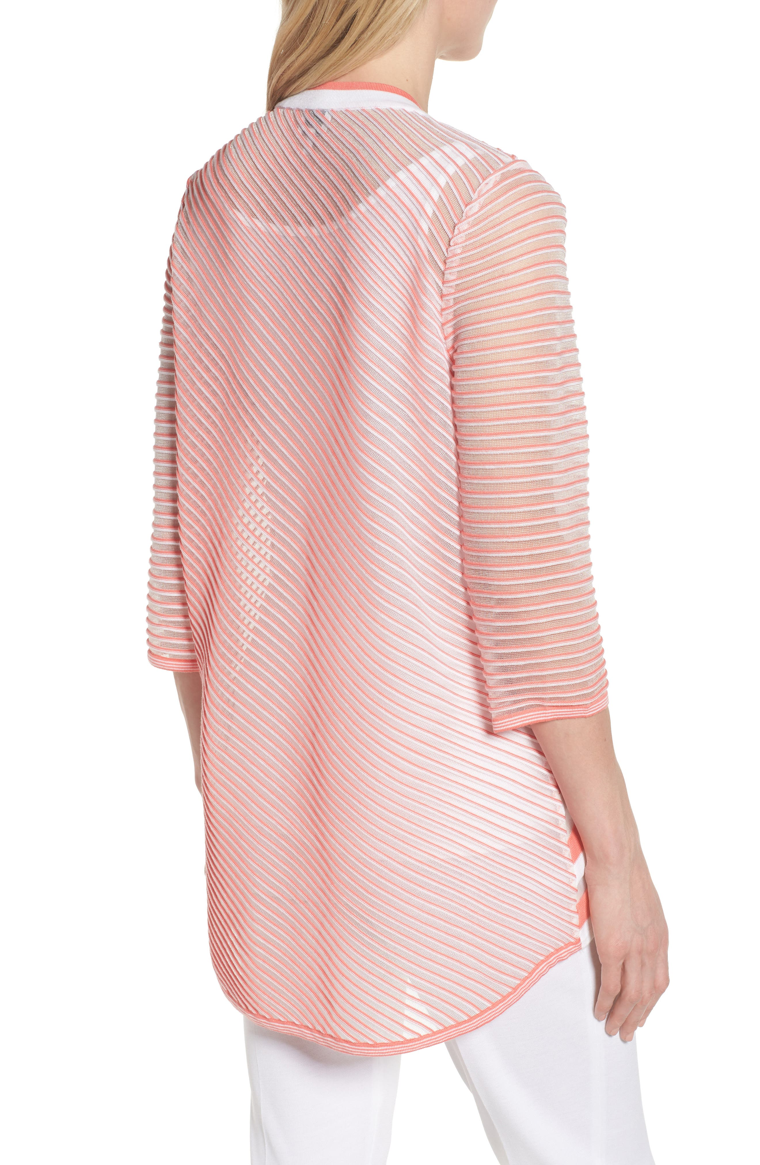 Sheer Stripe Knit Tunic,                             Alternate thumbnail 2, color,                             DAYLILY/ WHITE