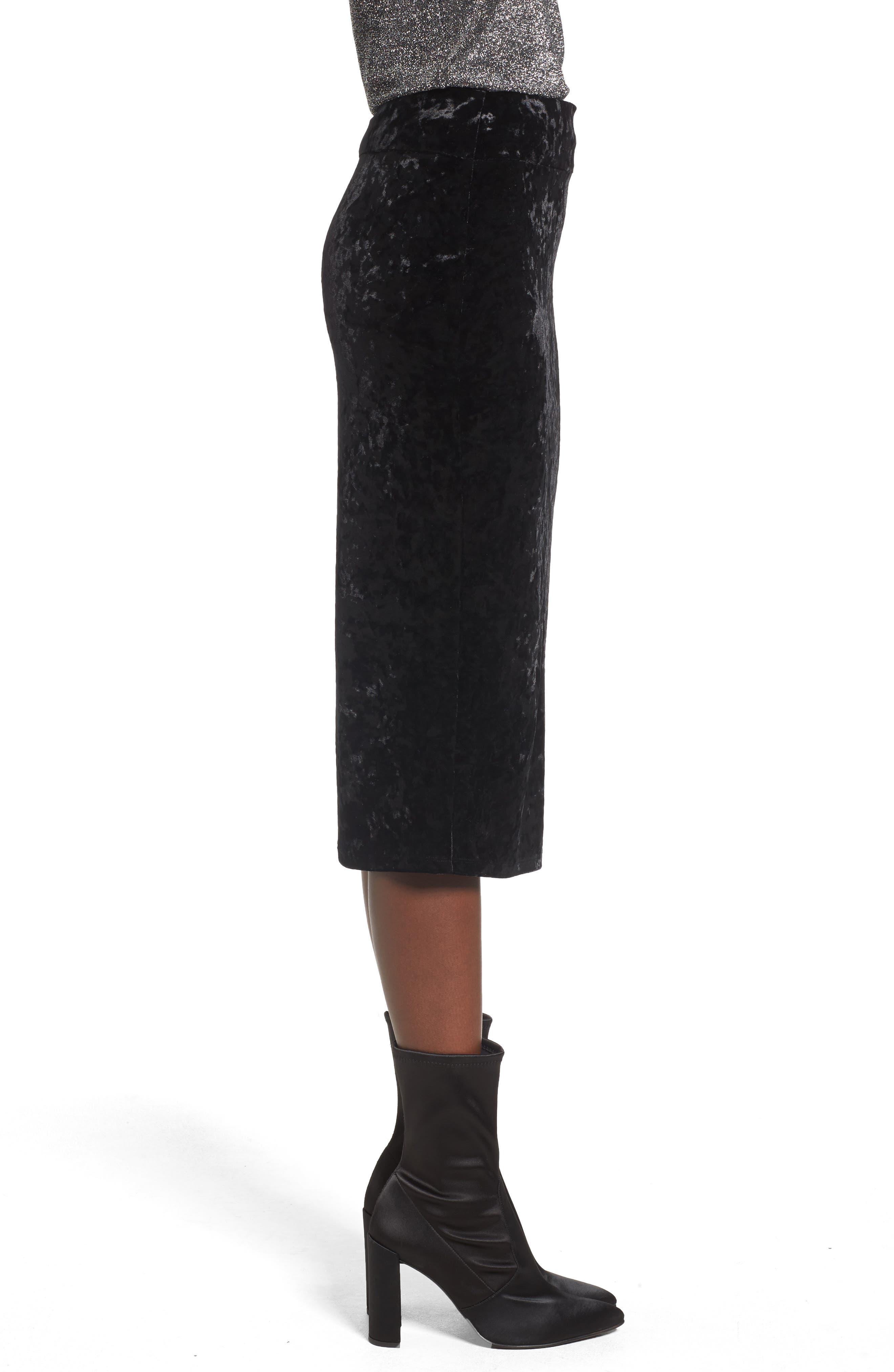 Leigh High Waist Velour Pencil Skirt,                             Alternate thumbnail 3, color,                             001