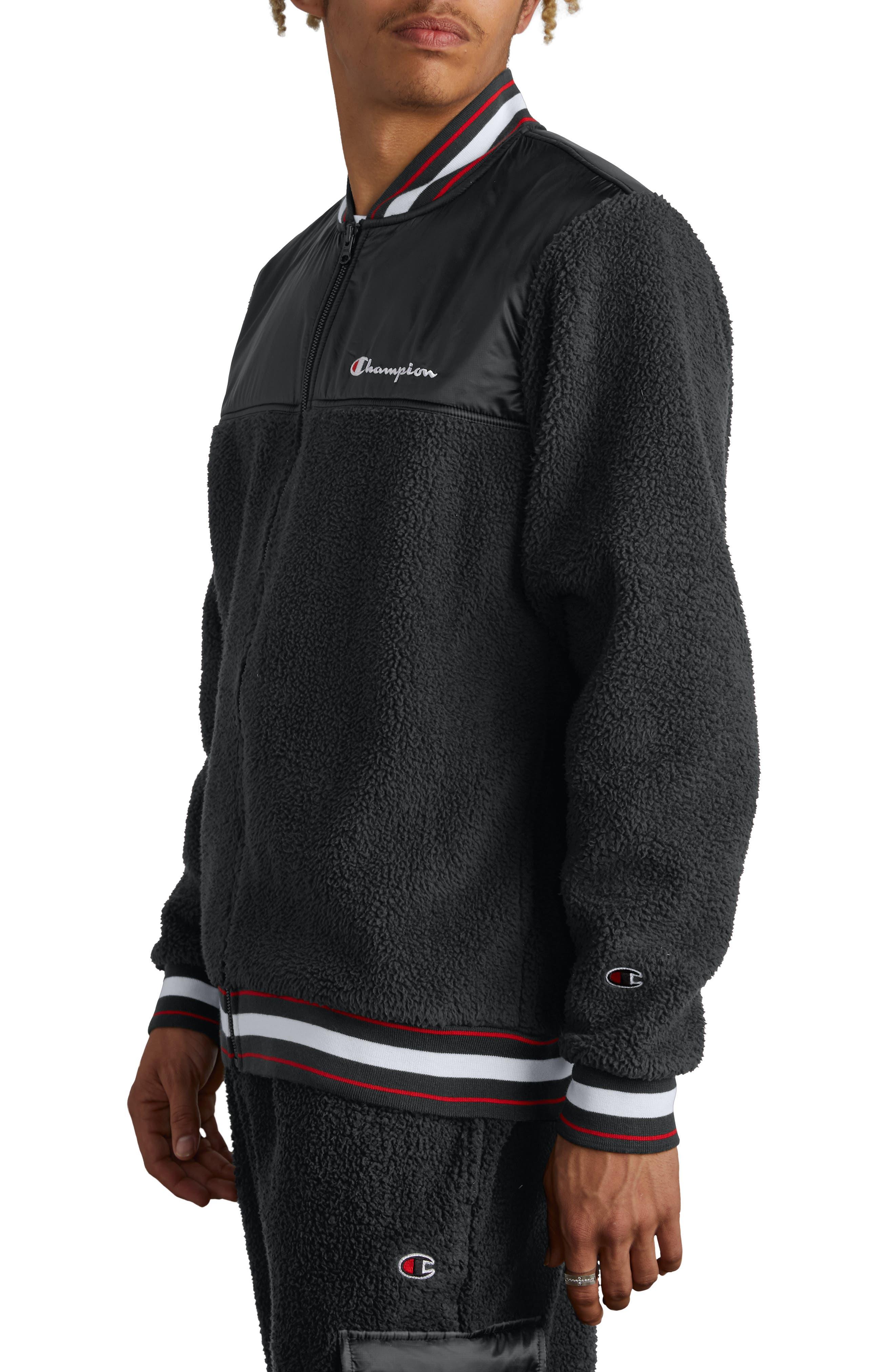 CHAMPION,                             Fleece Baseball Jacket,                             Alternate thumbnail 3, color,                             BLACK