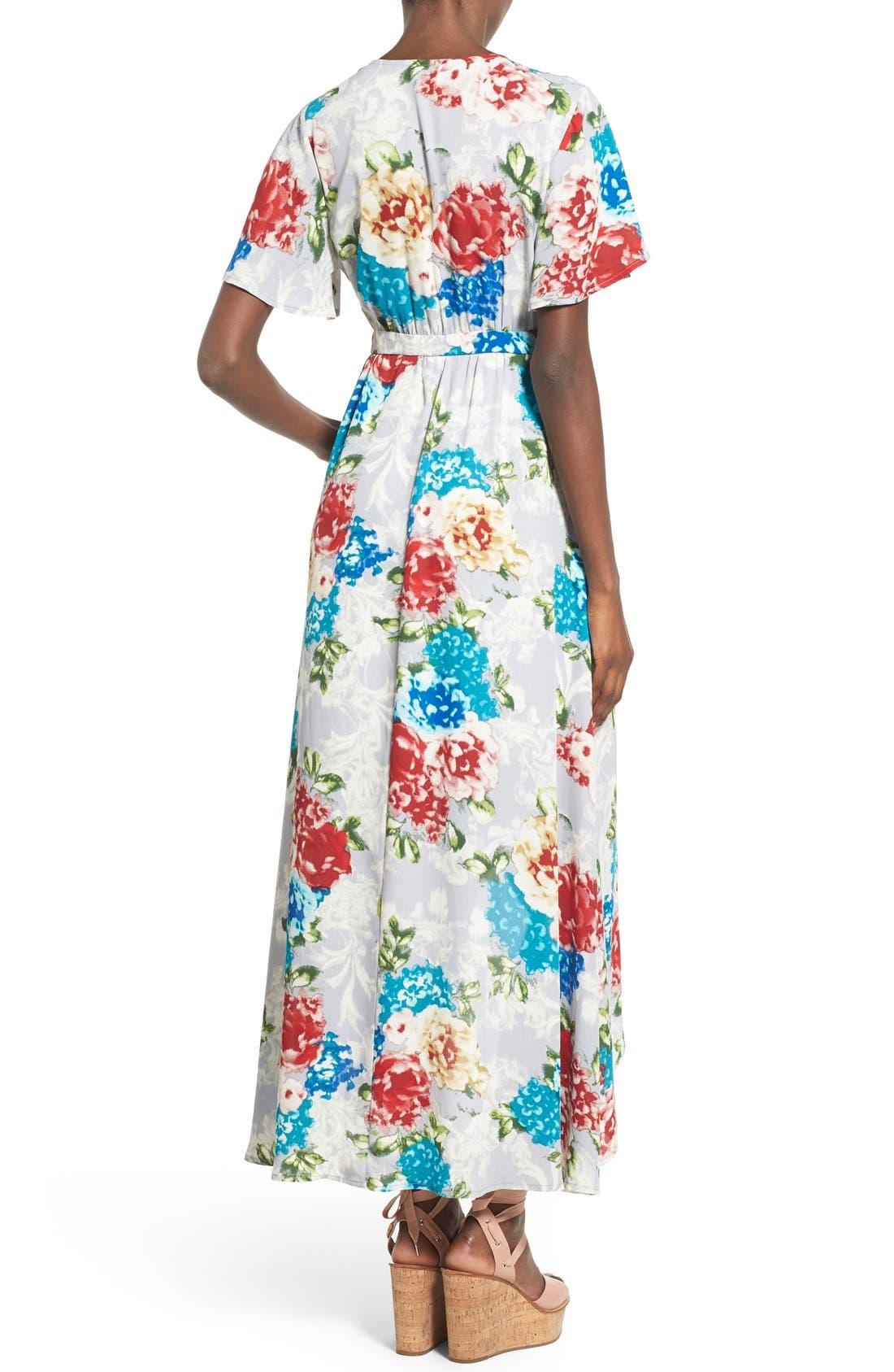 Floral Print High/Low Wrap Dress,                             Alternate thumbnail 3, color,                             020