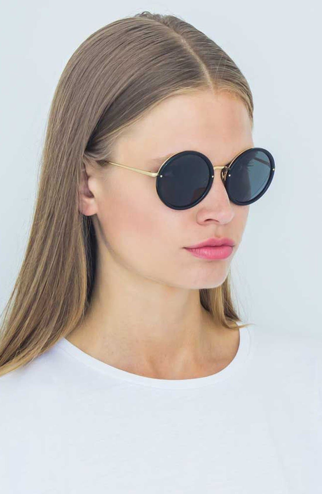 51mm Round 24 Karat Gold Trim Sunglasses,                             Alternate thumbnail 2, color,