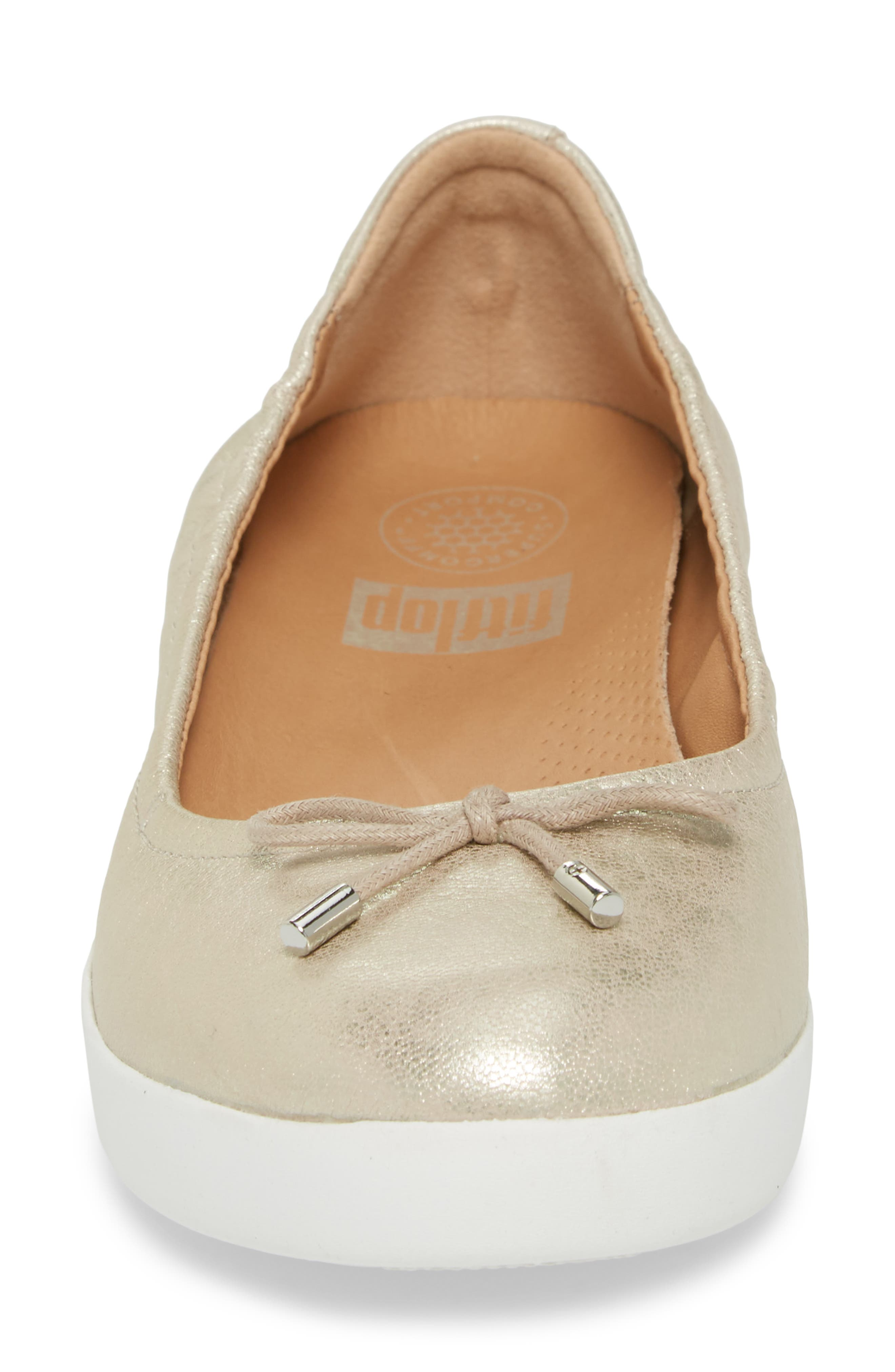 Superbendy Ballerina Flat,                             Alternate thumbnail 4, color,                             METALLIC SILVER LEATHER