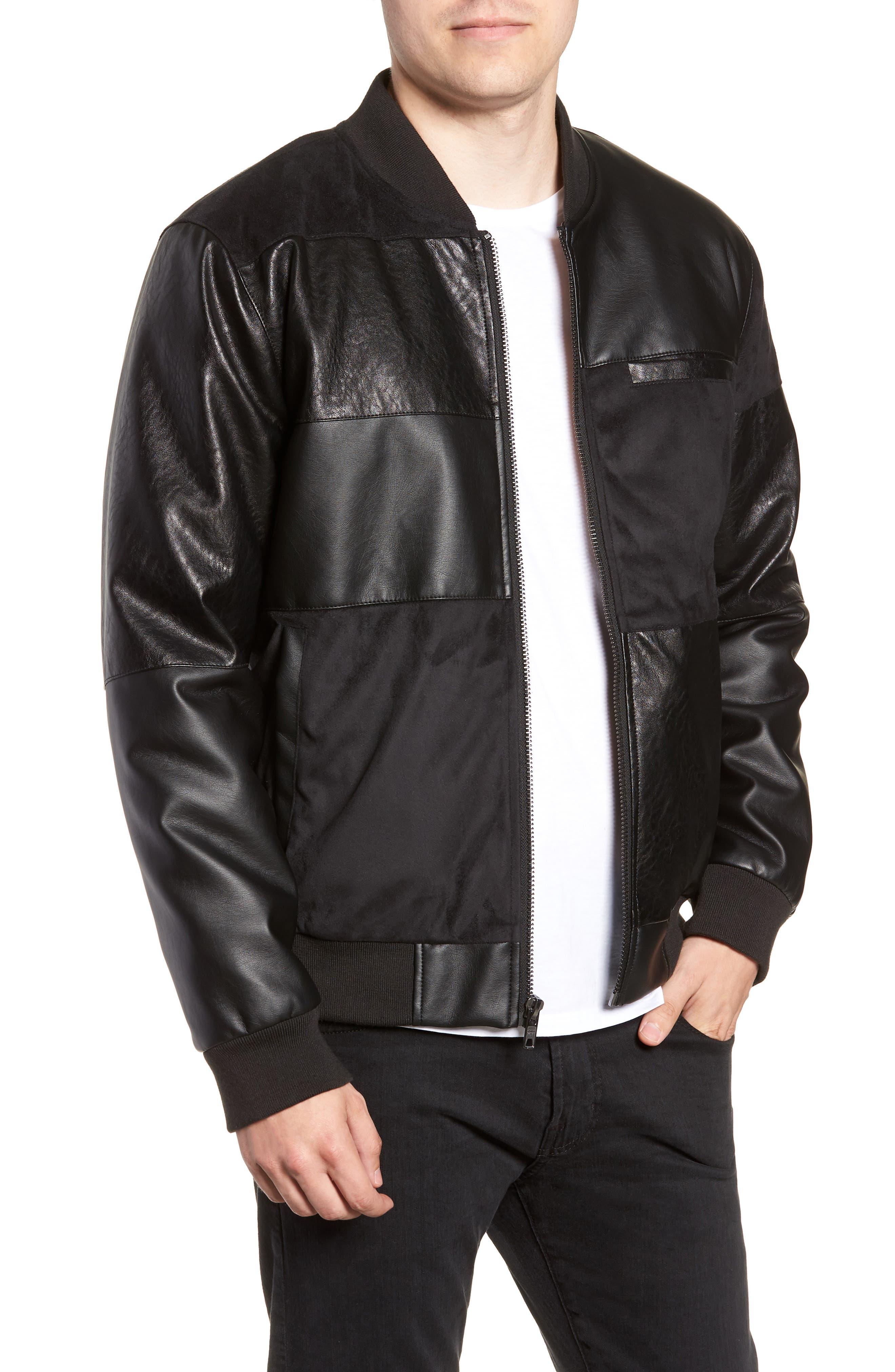 Patchwork Bomber Jacket,                         Main,                         color, 001