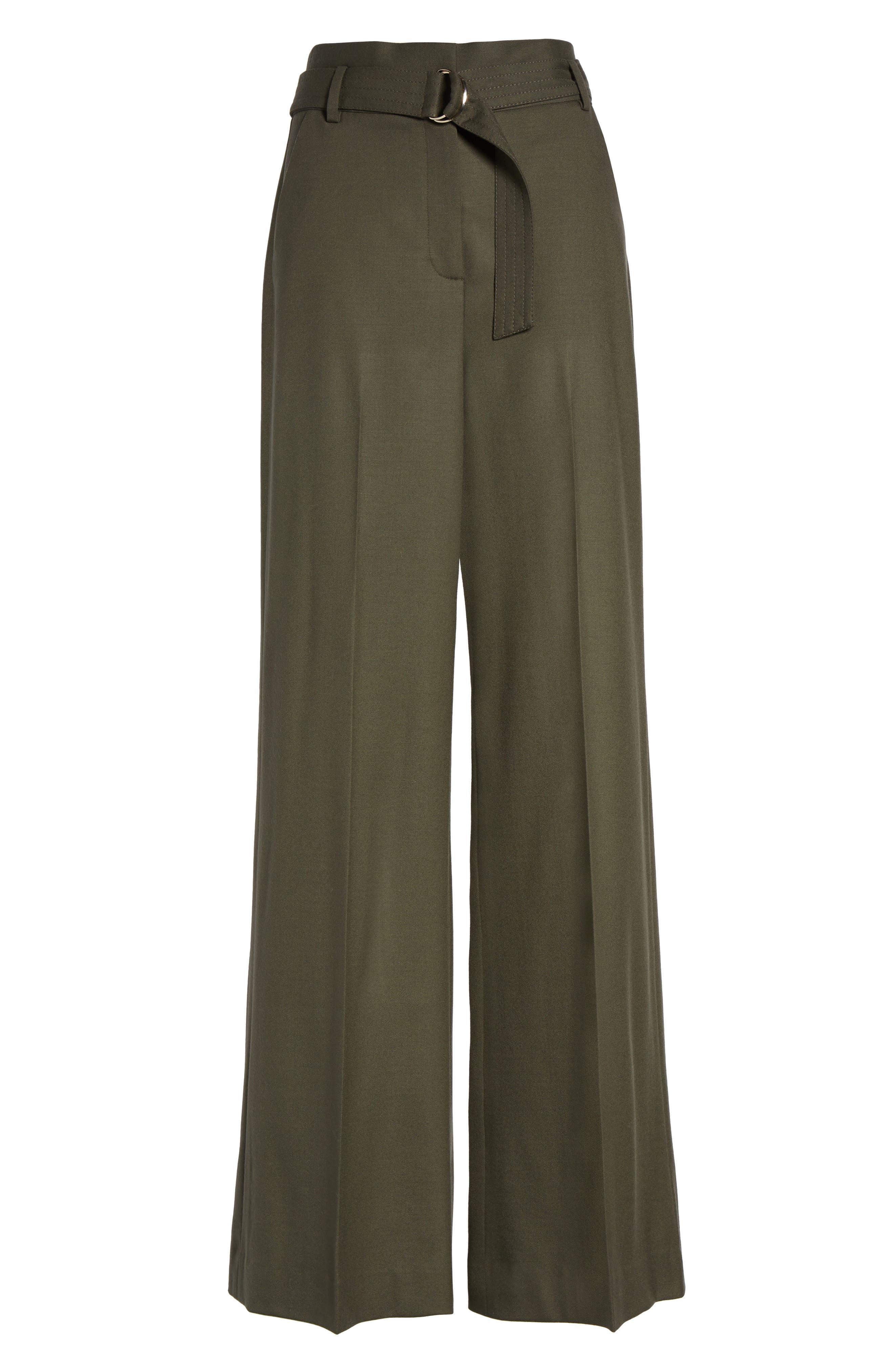 Wide Leg Stretch Wool Pants,                             Alternate thumbnail 6, color,                             311