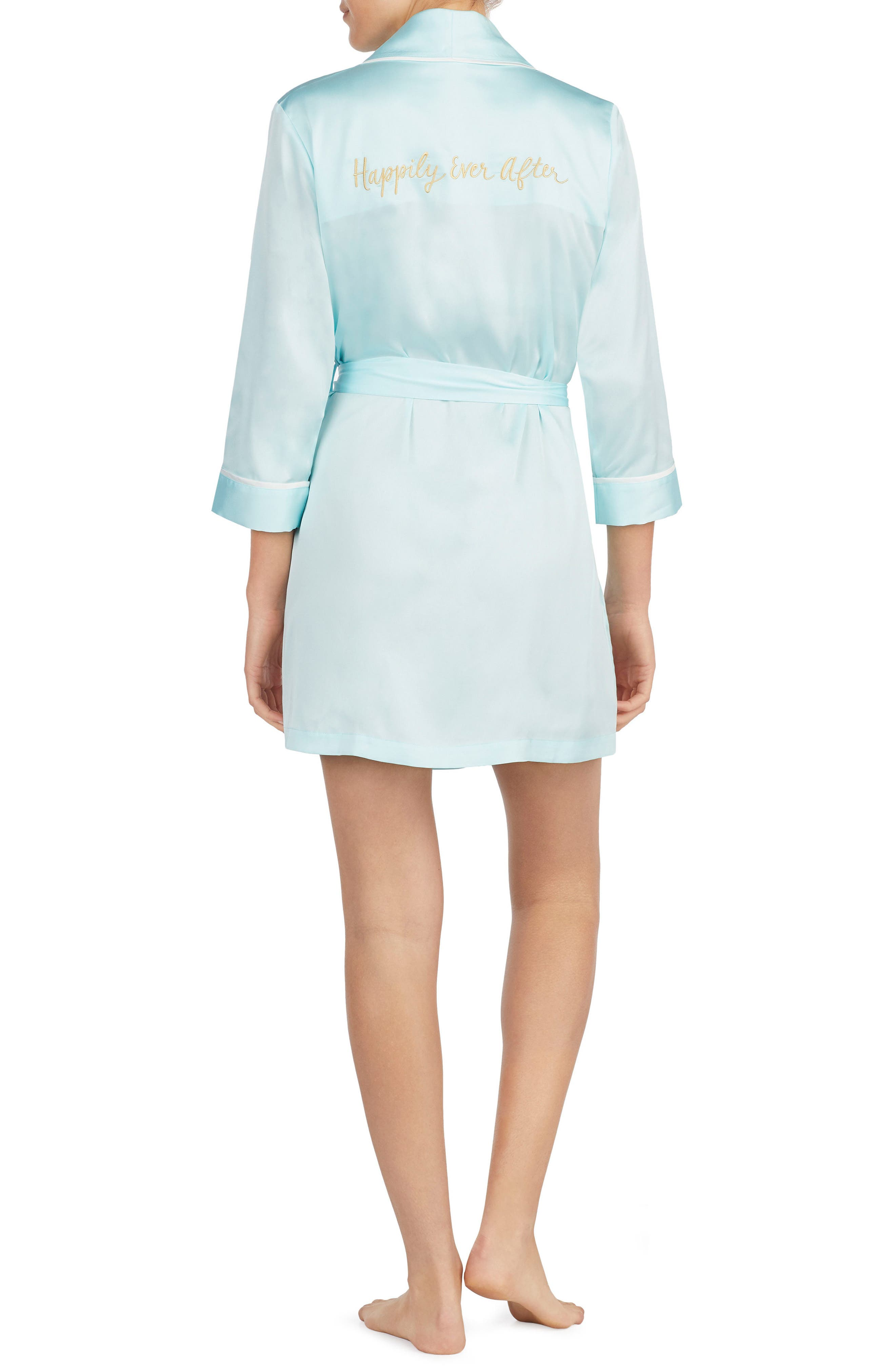 happily ever after charmeuse short robe,                             Alternate thumbnail 2, color,                             405