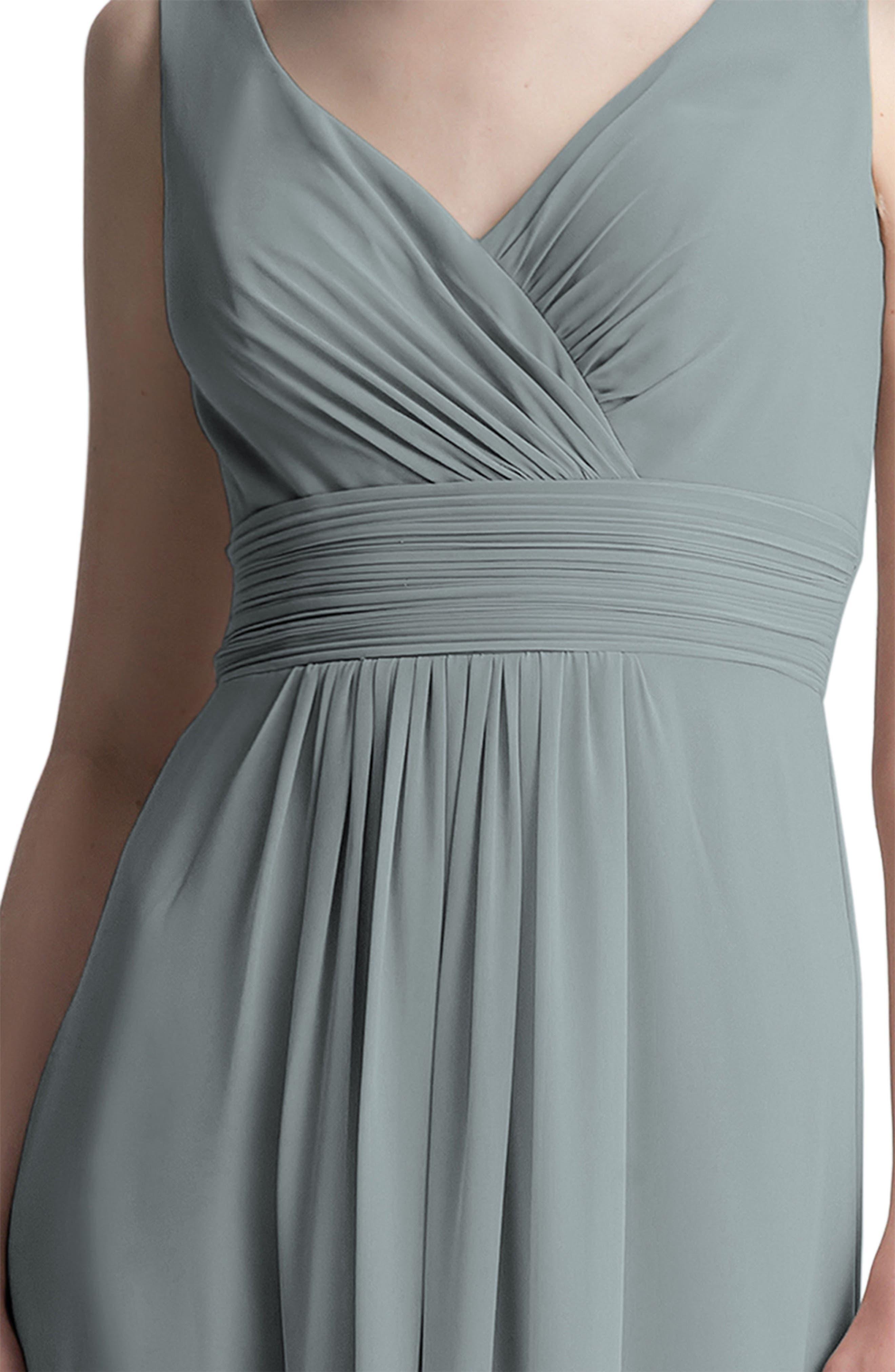 V-Neck Chiffon A-Line Gown,                             Alternate thumbnail 3, color,                             SLATE
