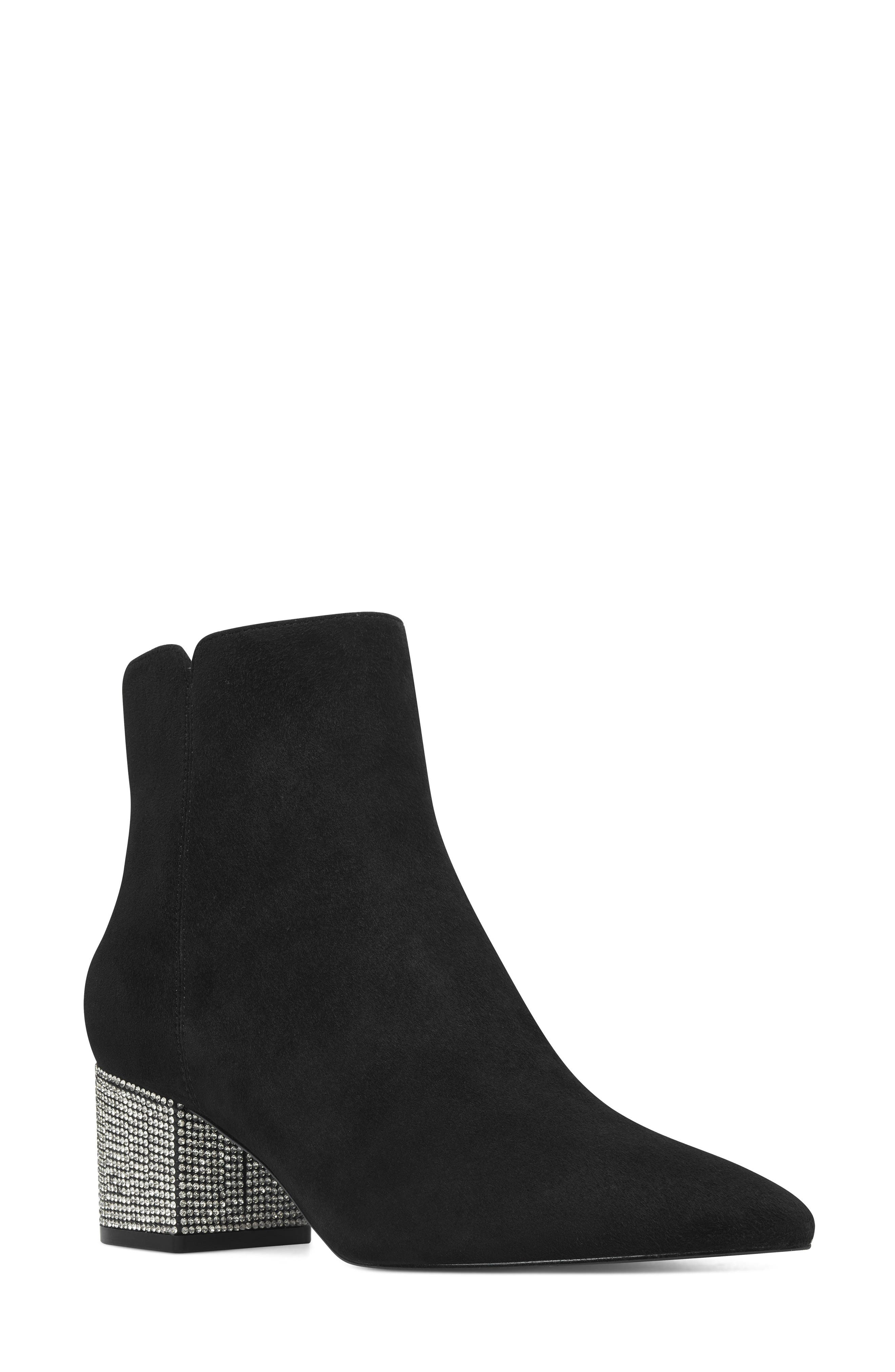Nine West Richick Crystal Heel Bootie- Black