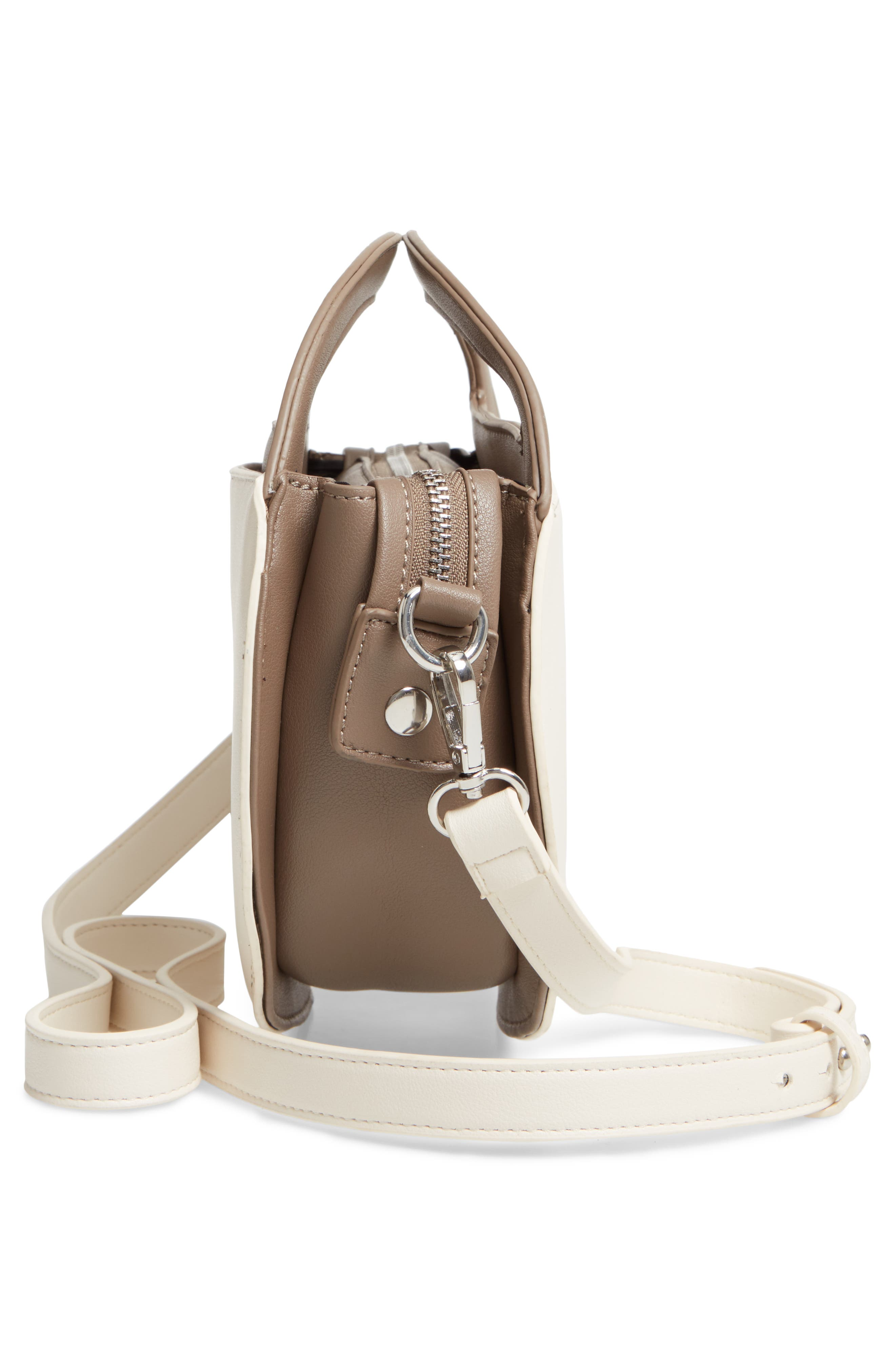 Two-Tone Faux Leather Oval Crossbody Bag,                             Alternate thumbnail 5, color,                             250