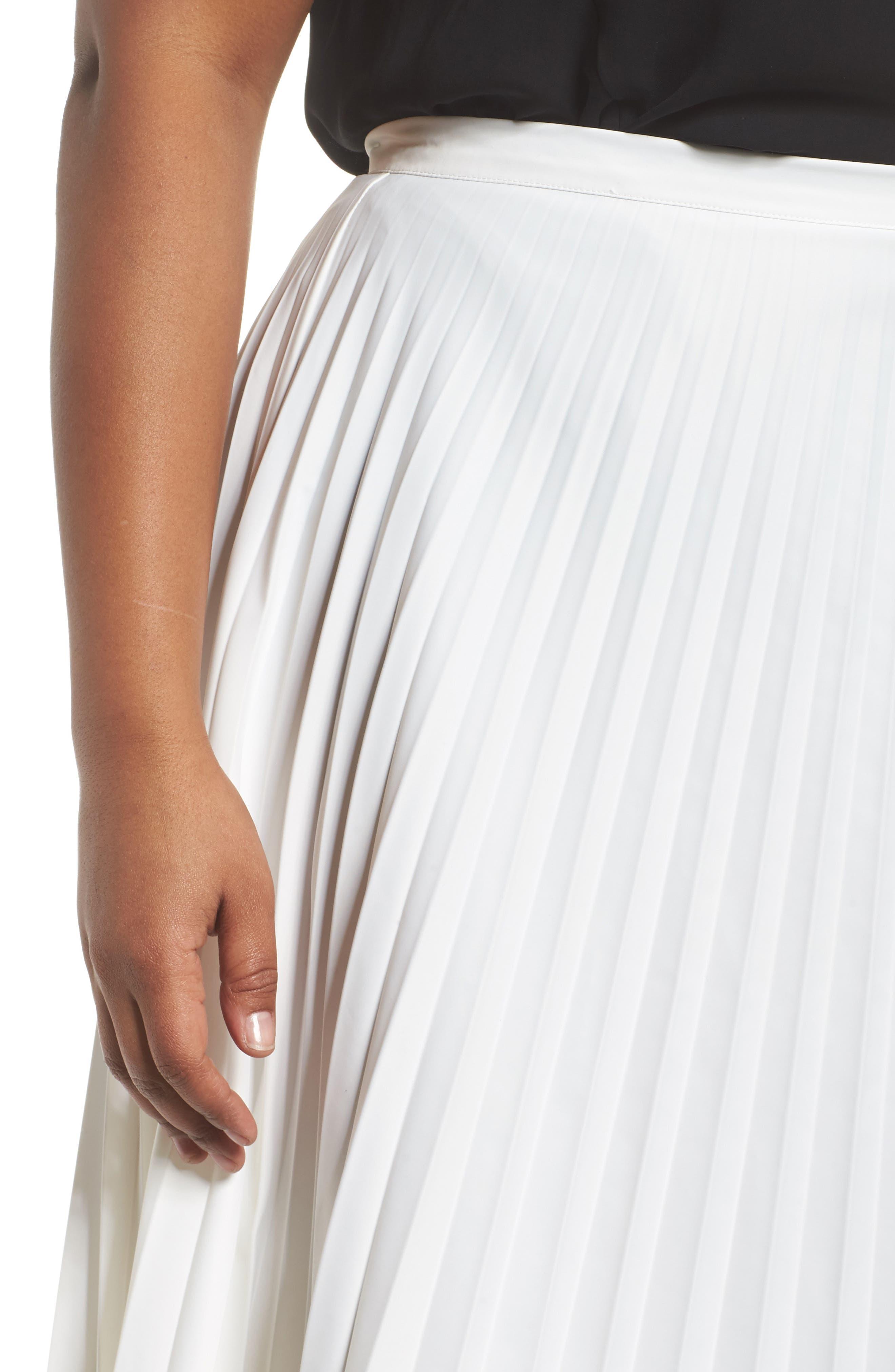 Pleated Long Skirt,                             Alternate thumbnail 4, color,                             100