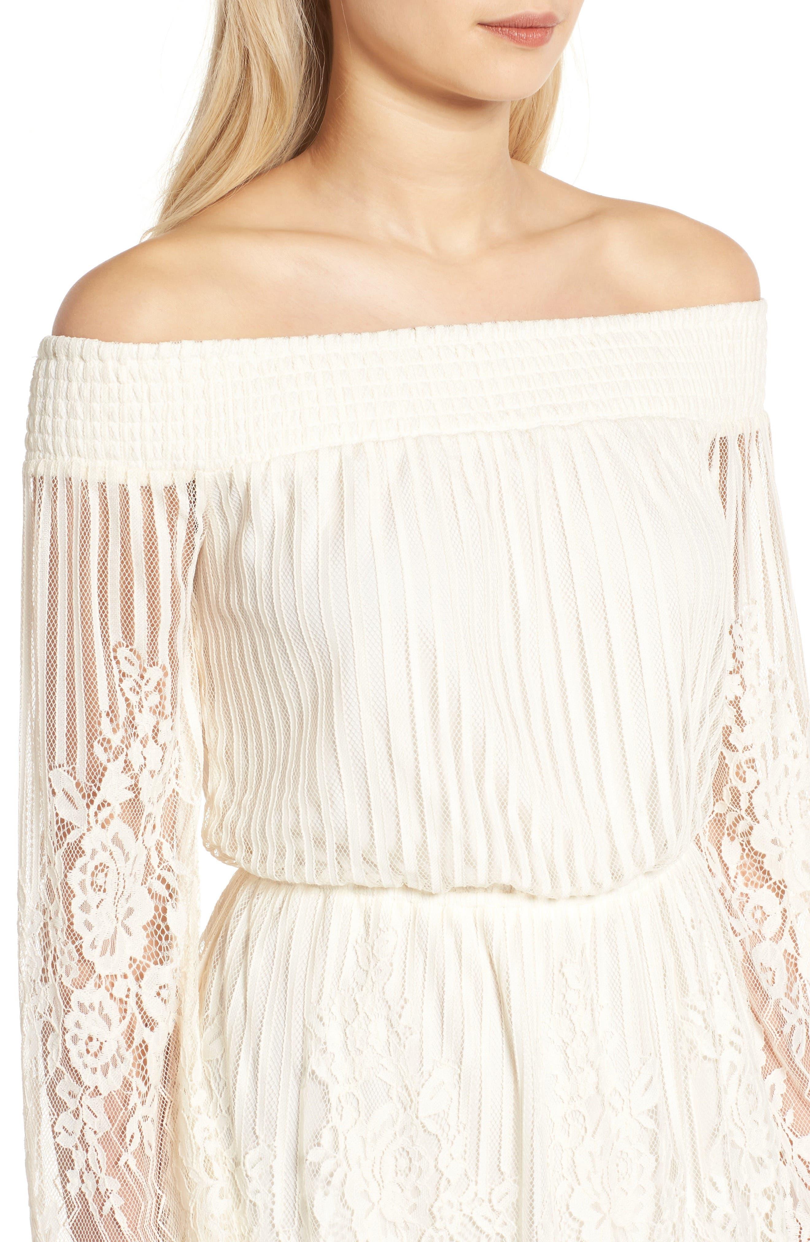 Stripe Lace Off the Shoulder Dress,                             Alternate thumbnail 4, color,