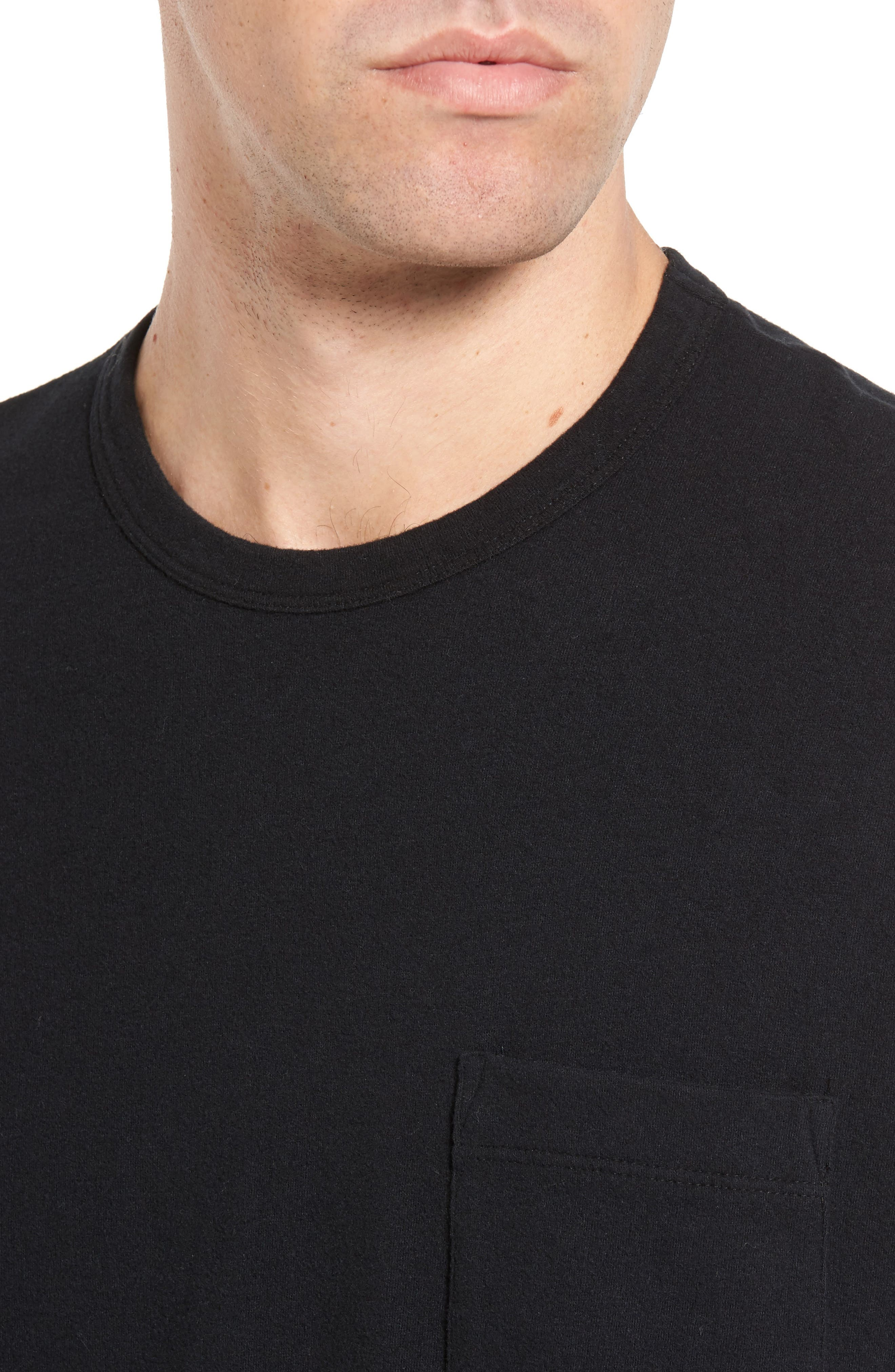 Sueded Jersey Pocket T-Shirt,                             Alternate thumbnail 4, color,                             001