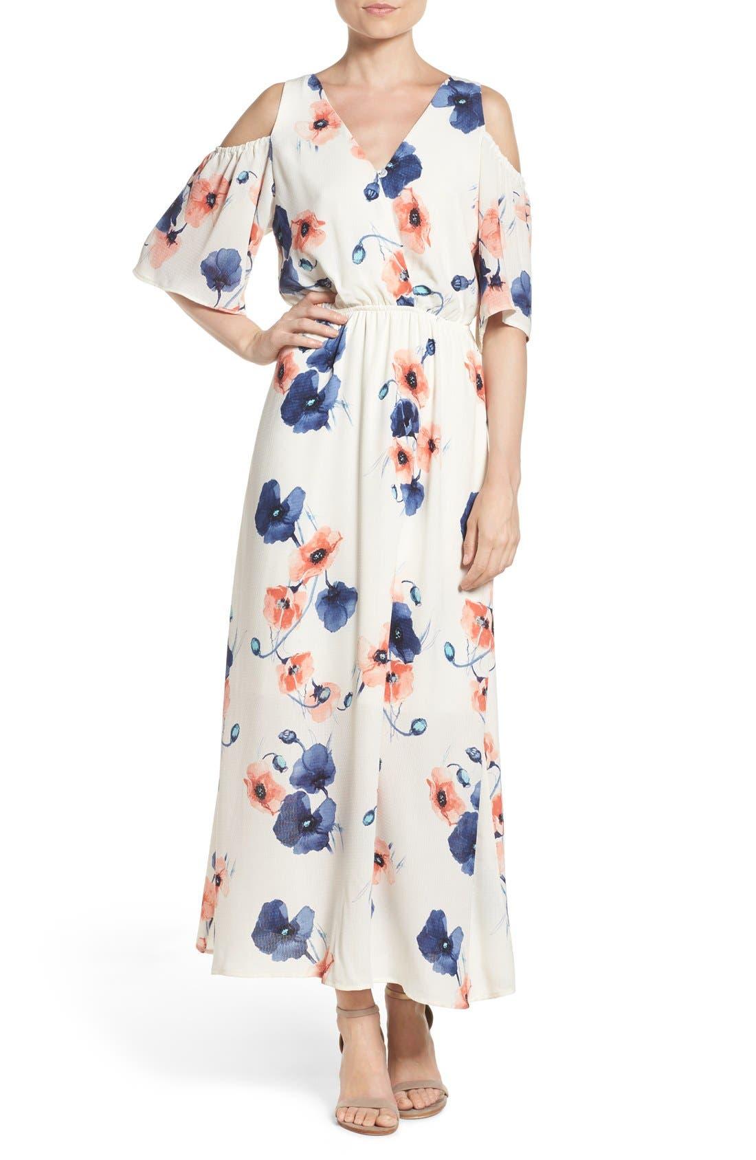 Cold Shoulder Maxi Dress,                             Main thumbnail 1, color,                             PENSY WHITE