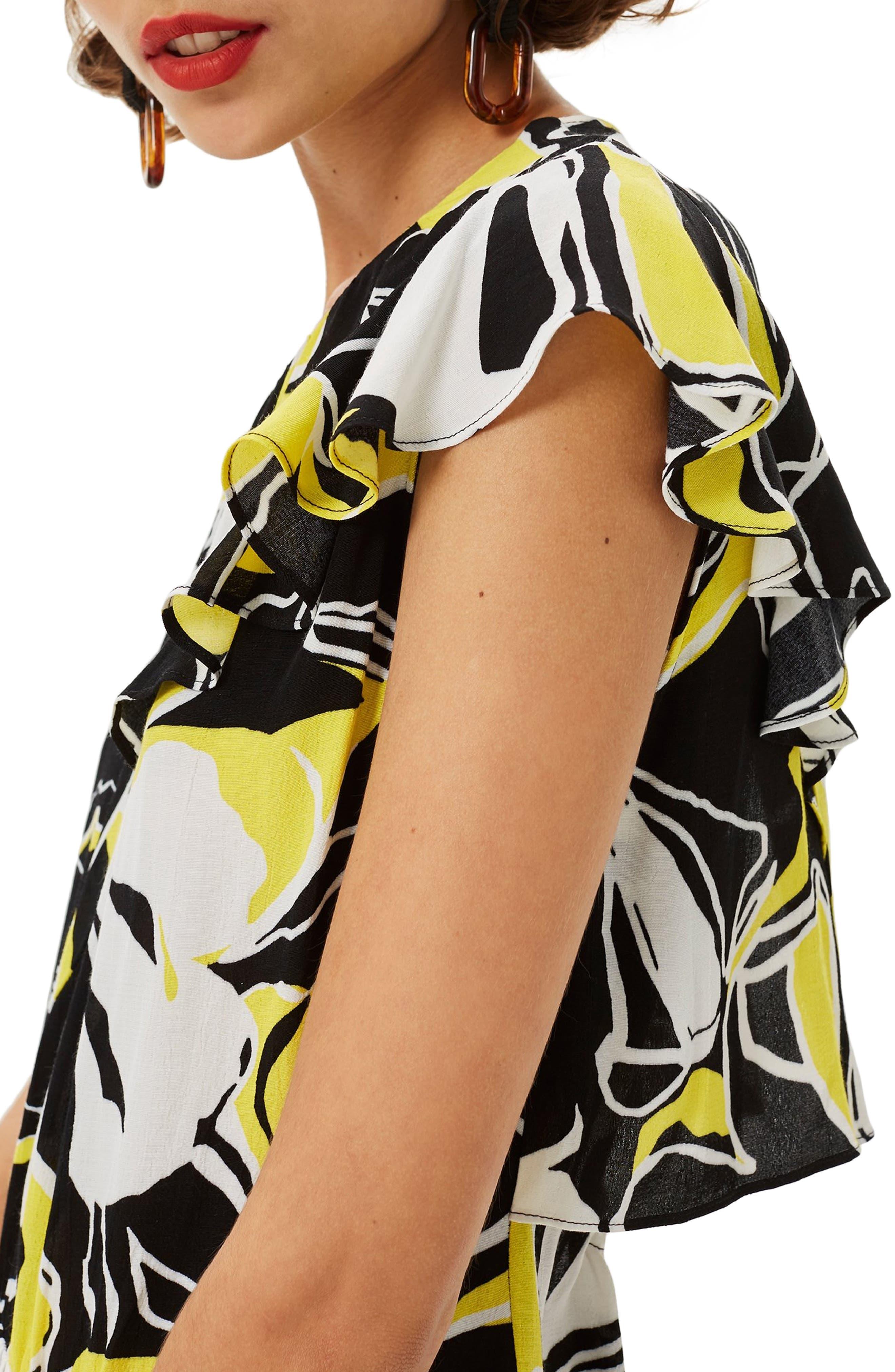 Deconstructed Floral Print Maxi Dress,                             Alternate thumbnail 4, color,                             BLACK MULTI