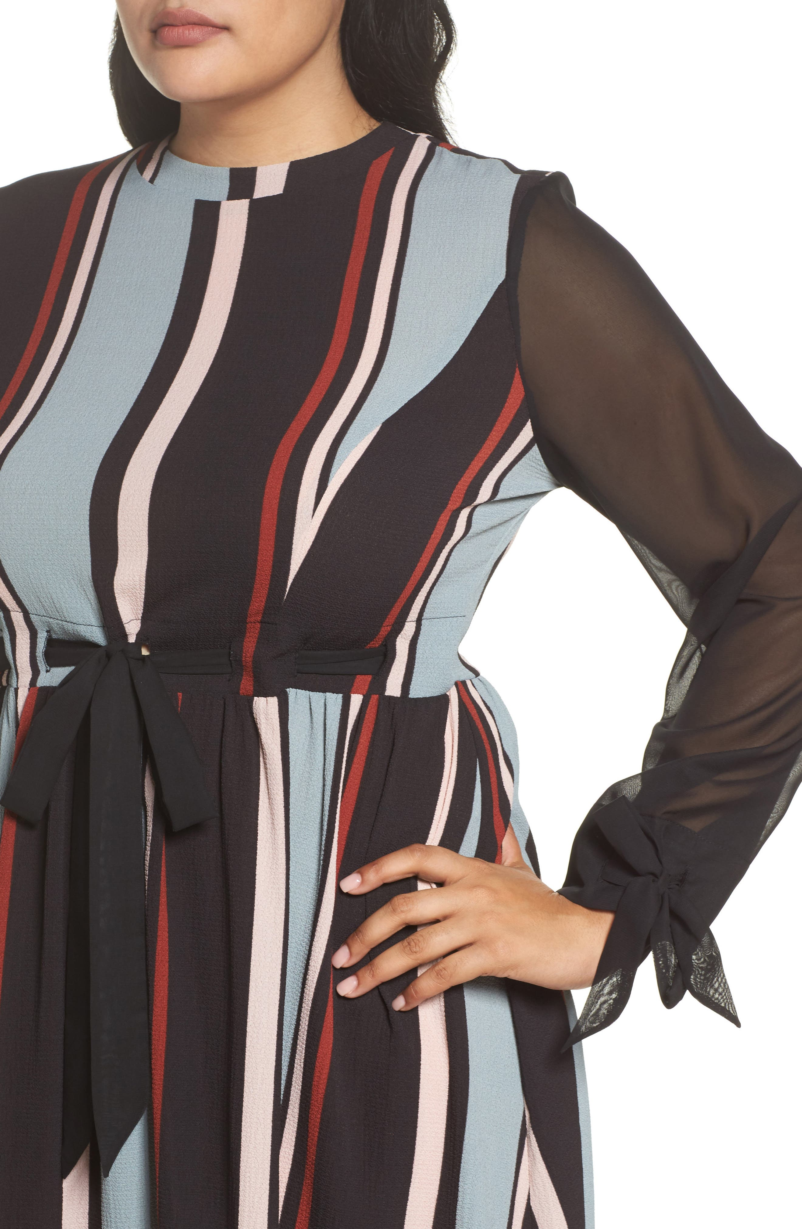 Stripe Fit & Flare Dress,                             Alternate thumbnail 4, color,                             001