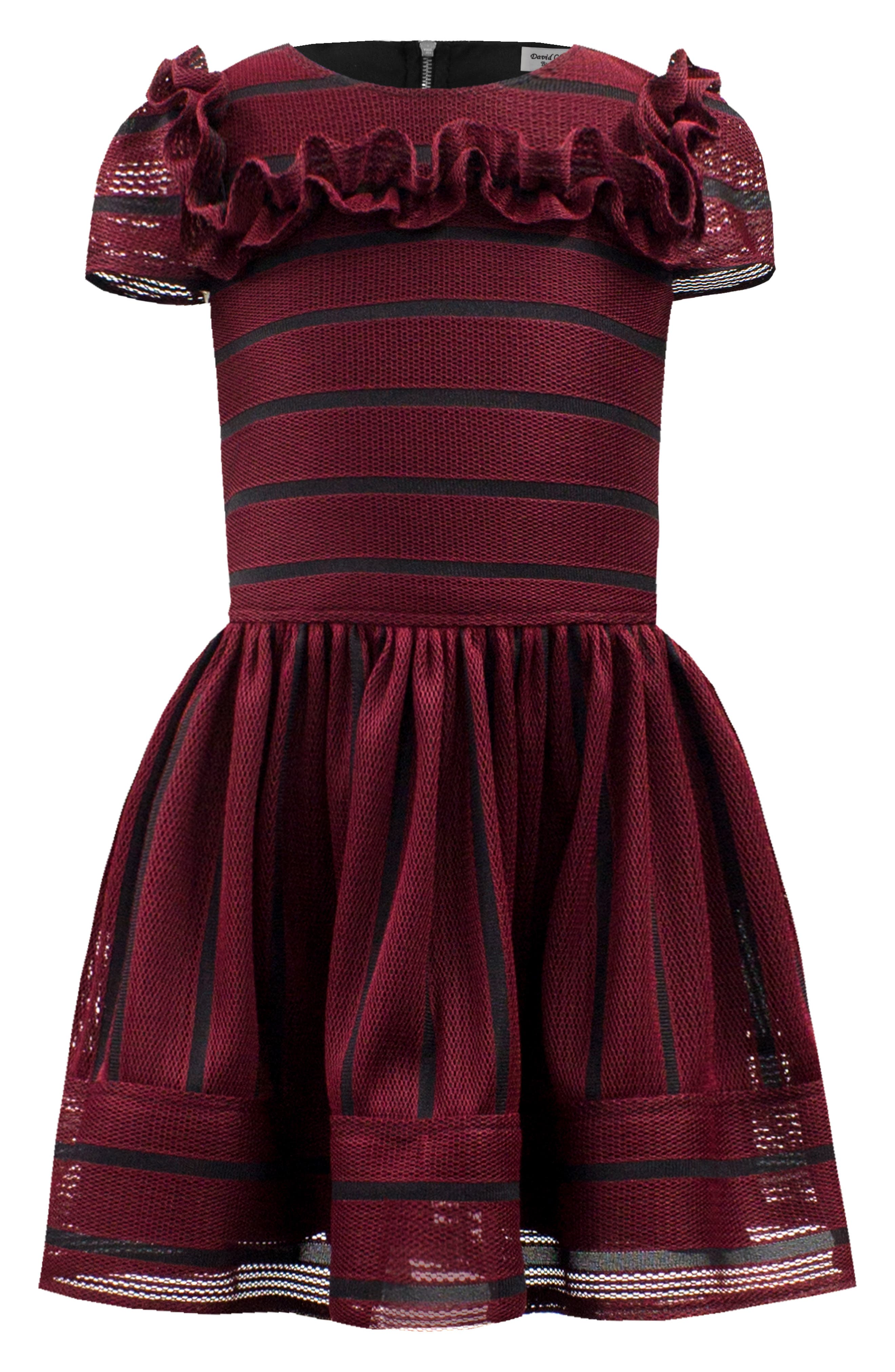 DAVID CHARLES,                             Stripe Techno Frill Fit & Flare Dress,                             Main thumbnail 1, color,                             WINE